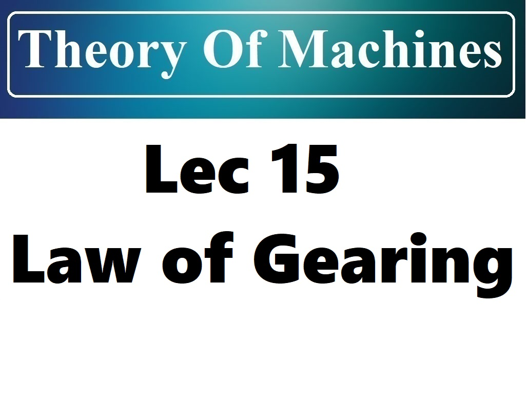 Lec 15 Law of Gearing