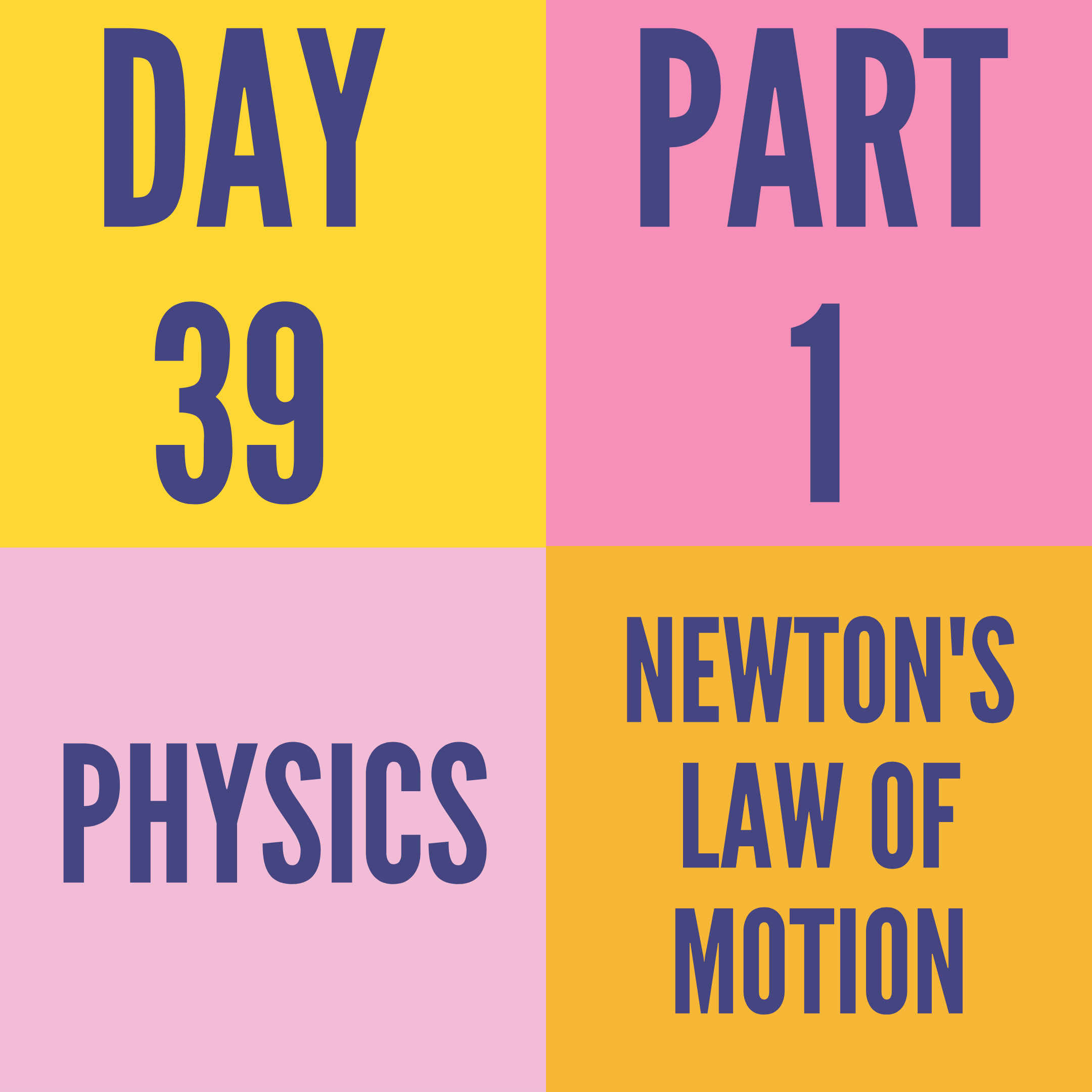 DAY-39 PART-1 NEWTON'S LAW OF MOTION
