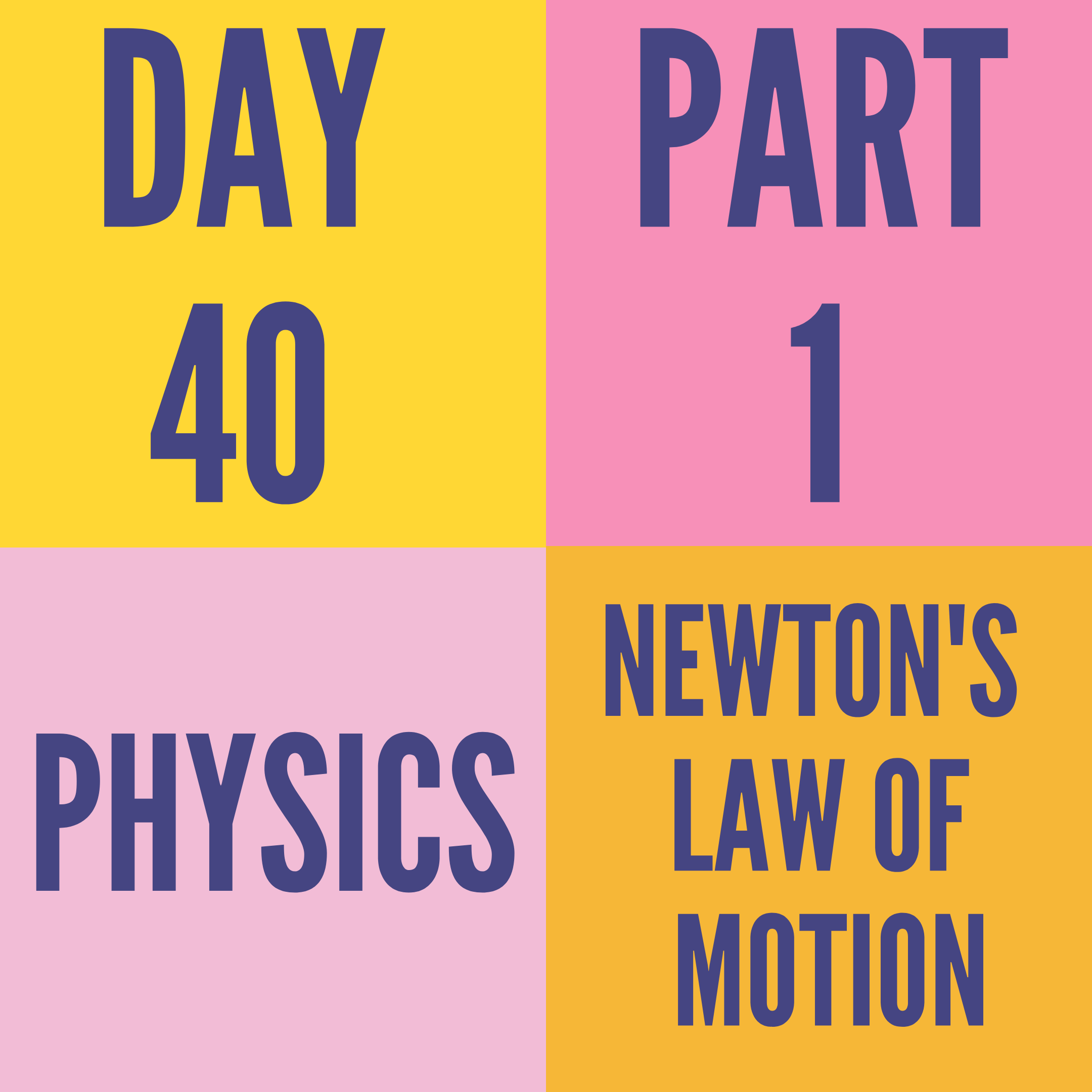 DAY-40 PART-1 NEWTON'S LAW OF MOTION