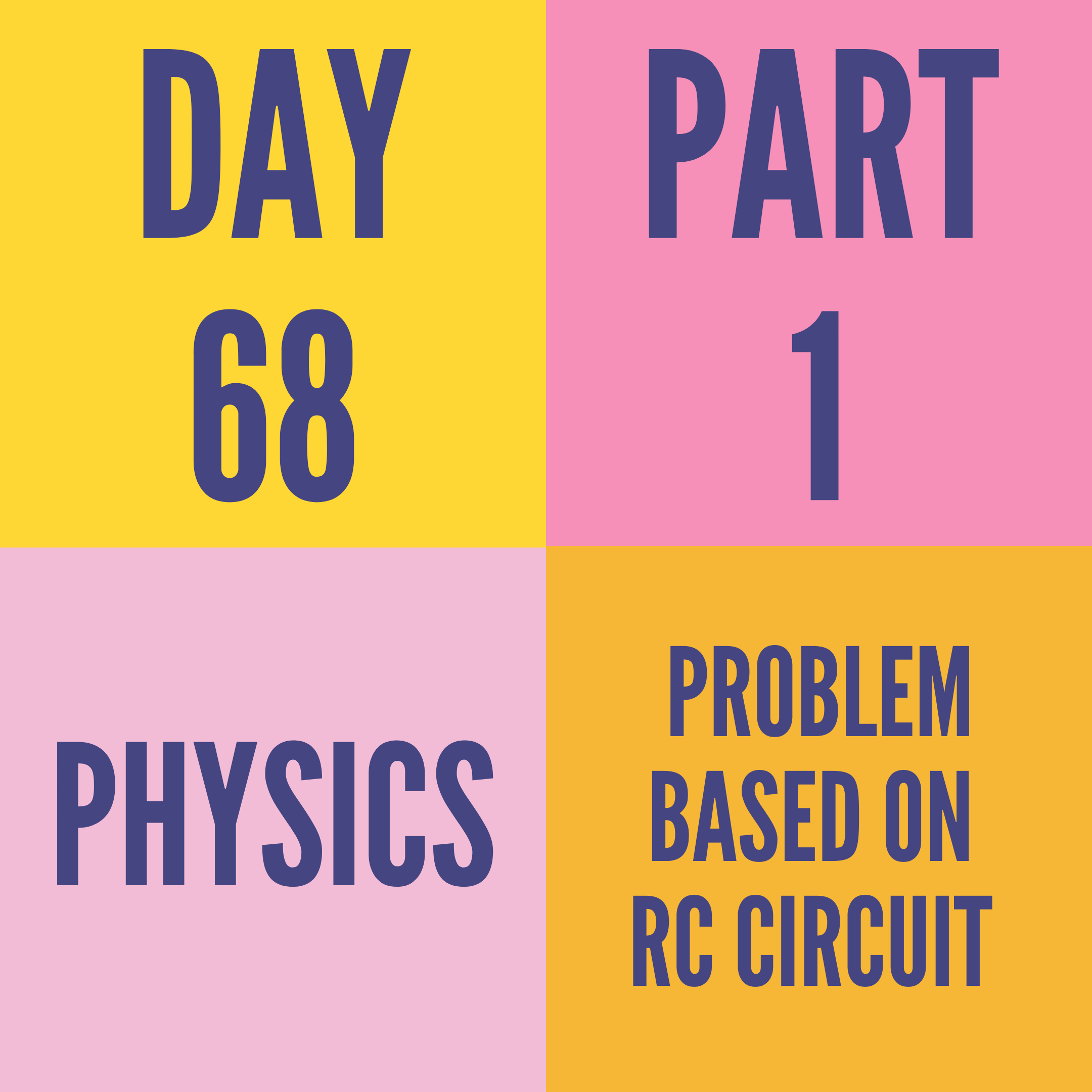 DAY-68 PART-1  PROBLEM BASED ON RC CIRCUIT