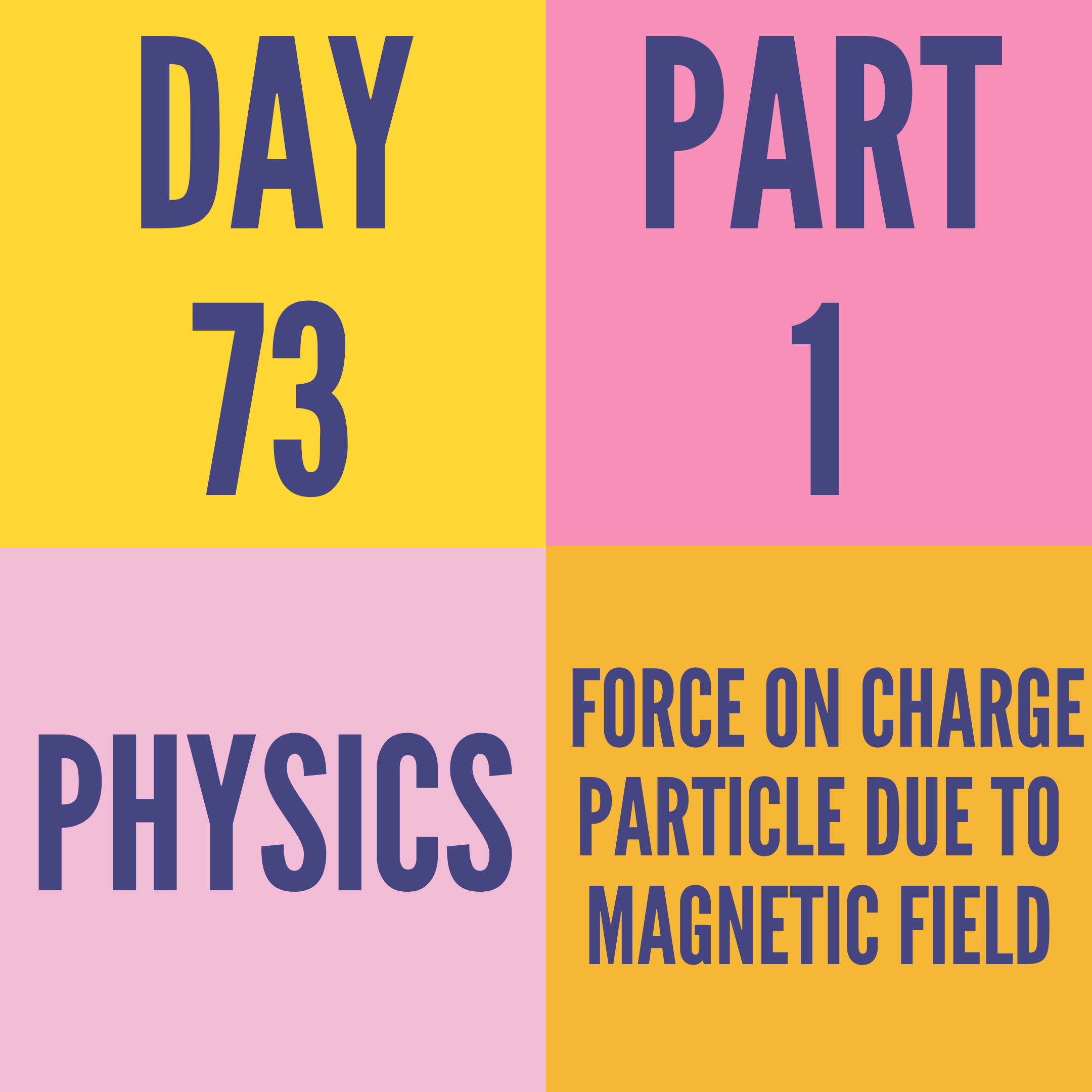 DAY-73 PART-1  FORCE ON CHARGE PARTICLE DUE TO MAGNETIC FIELD