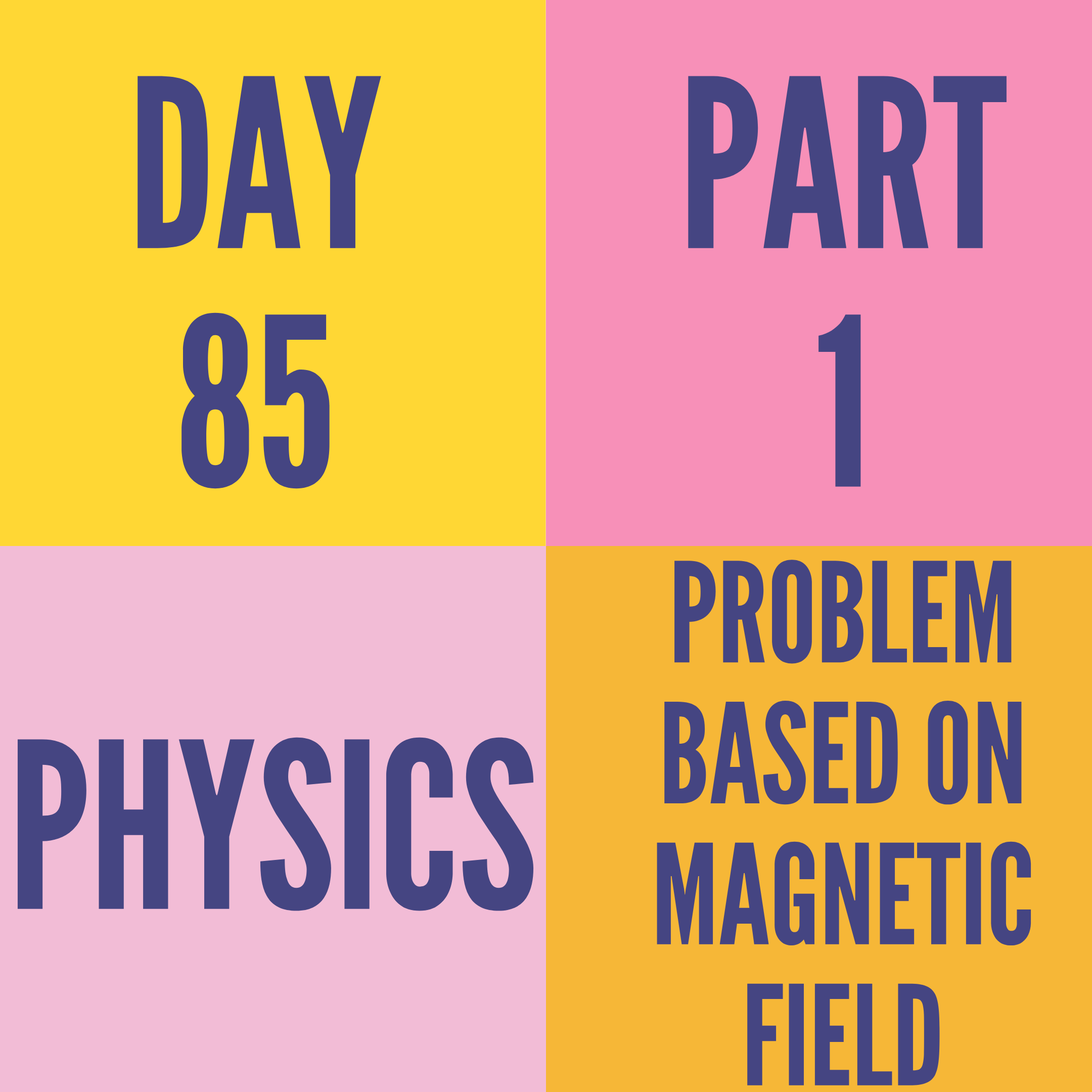 DAY-85 PART-1 PROBLEM BASED ON MAGNETIC FIELD