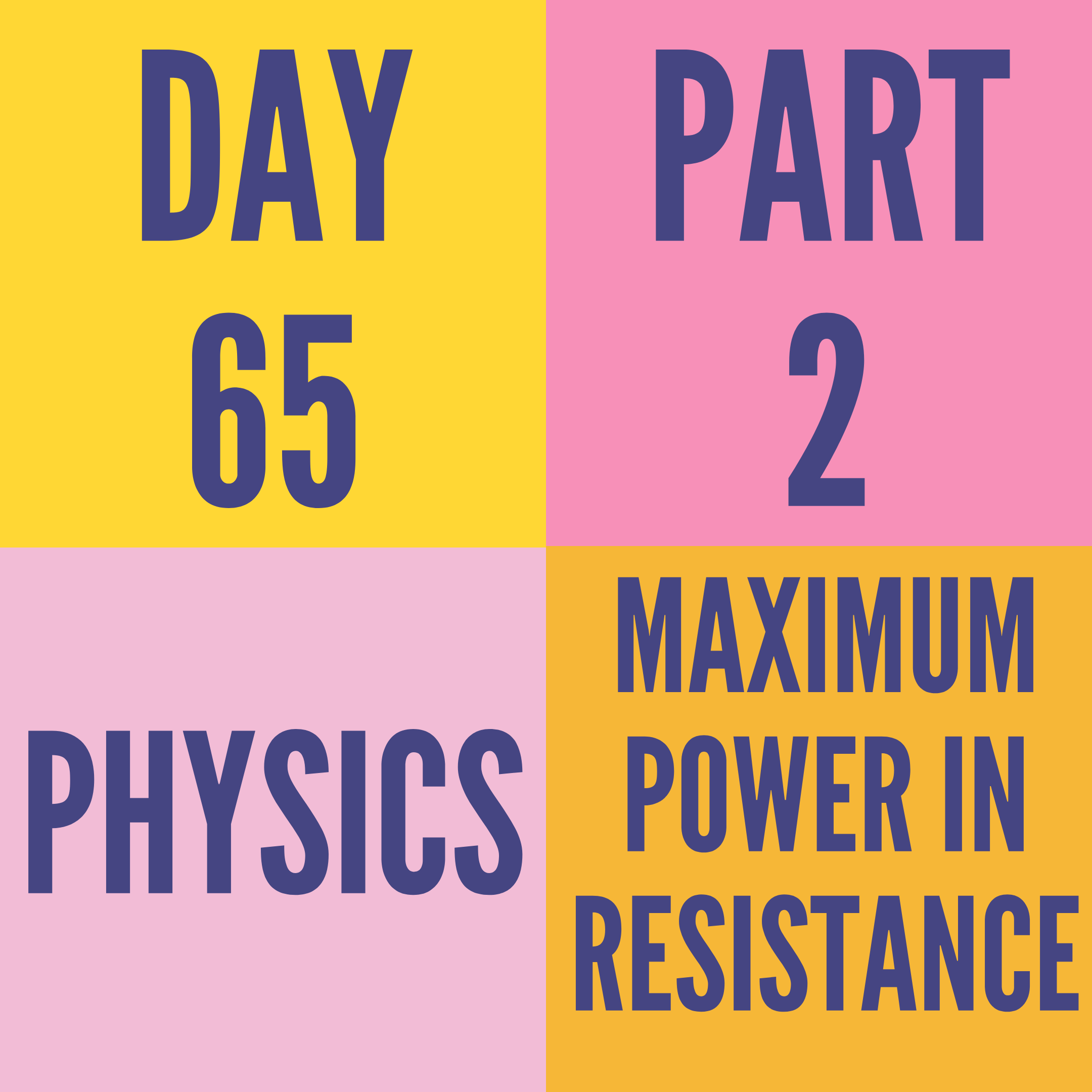 DAY-65 PART-2  MAXIMUM POWER IN RESISTANCE