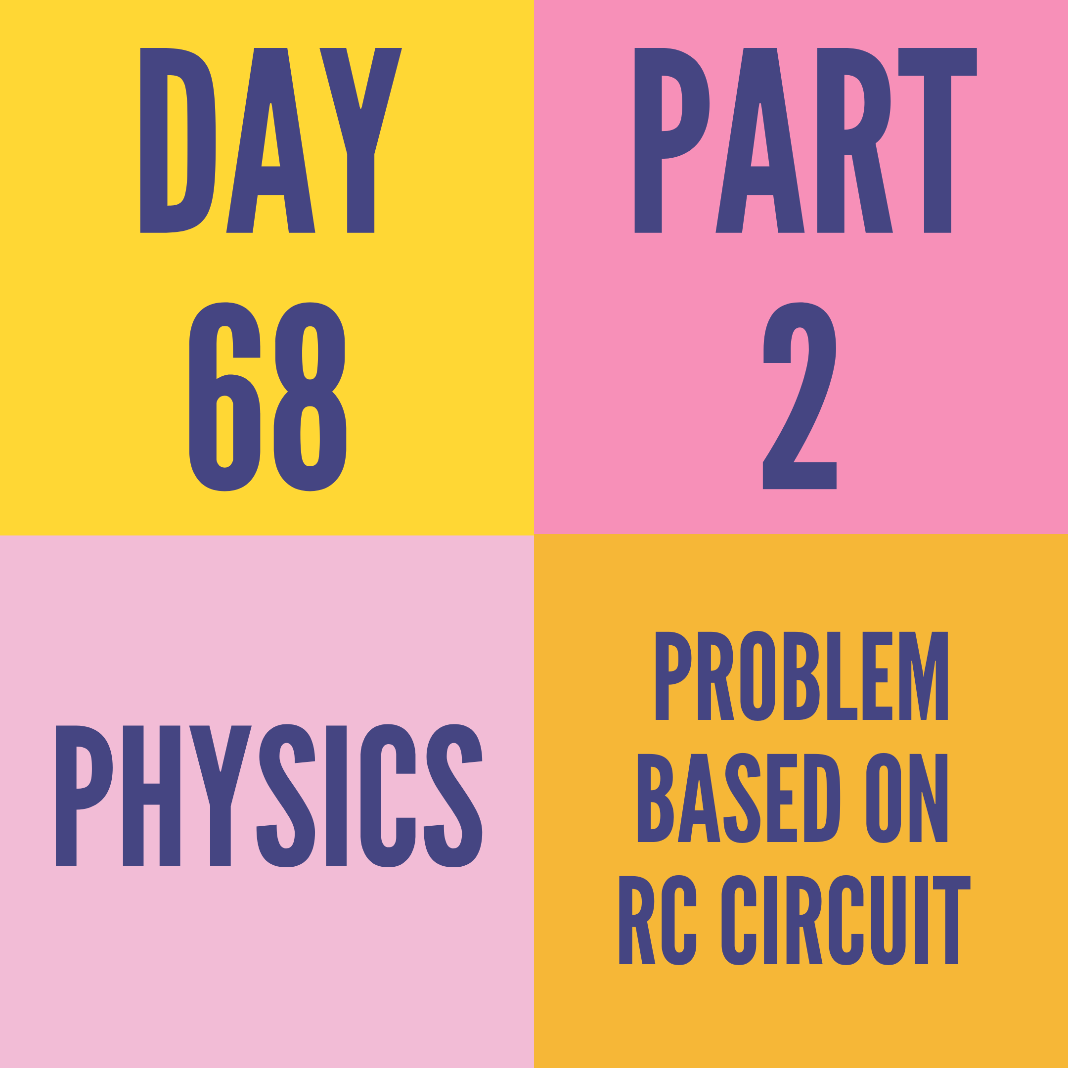 DAY-68 PART-2  PROBLEM BASED ON RC CIRCUIT