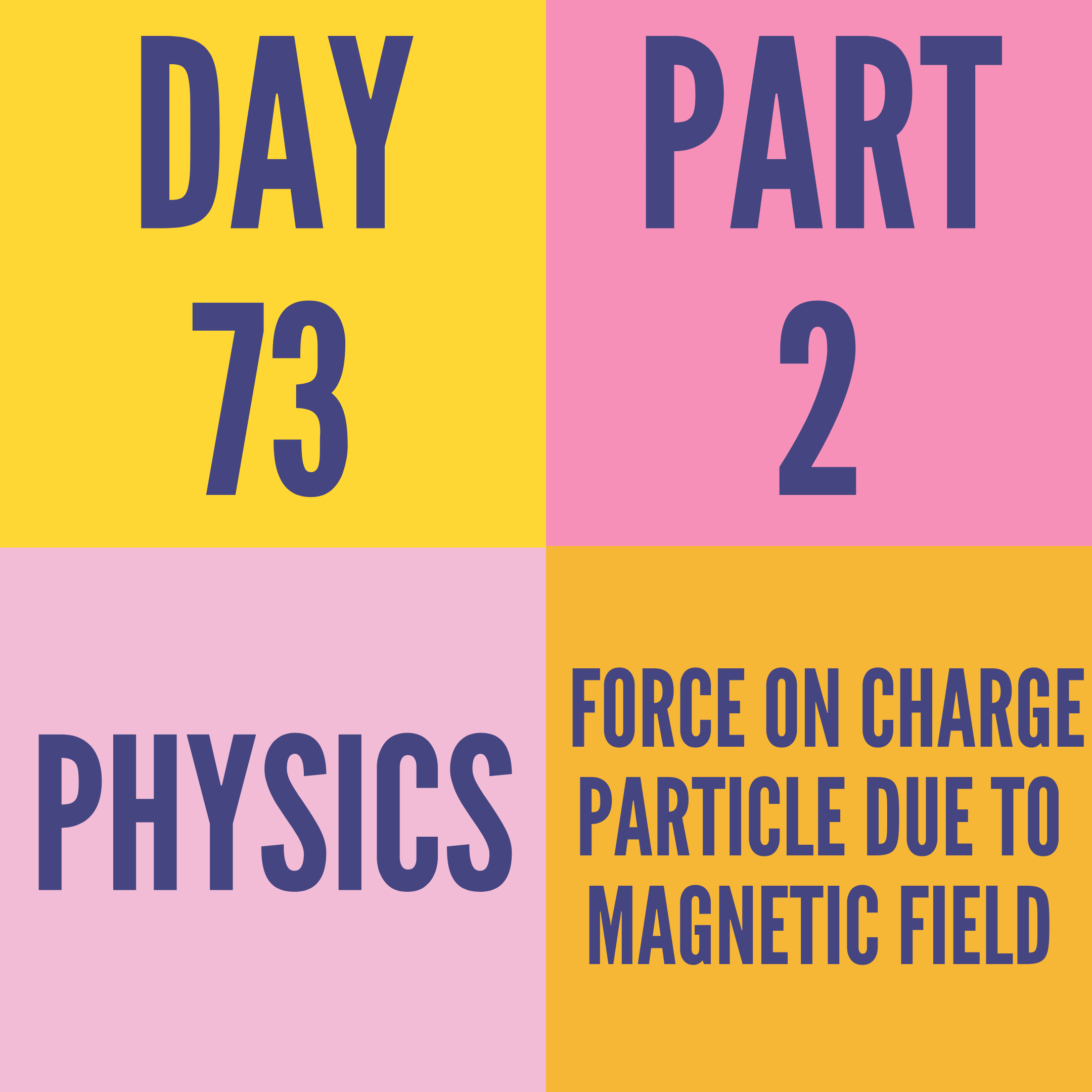 DAY-73 PART-2  FORCE ON CHARGE PARTICLE DUE TO MAGNETIC FIELD