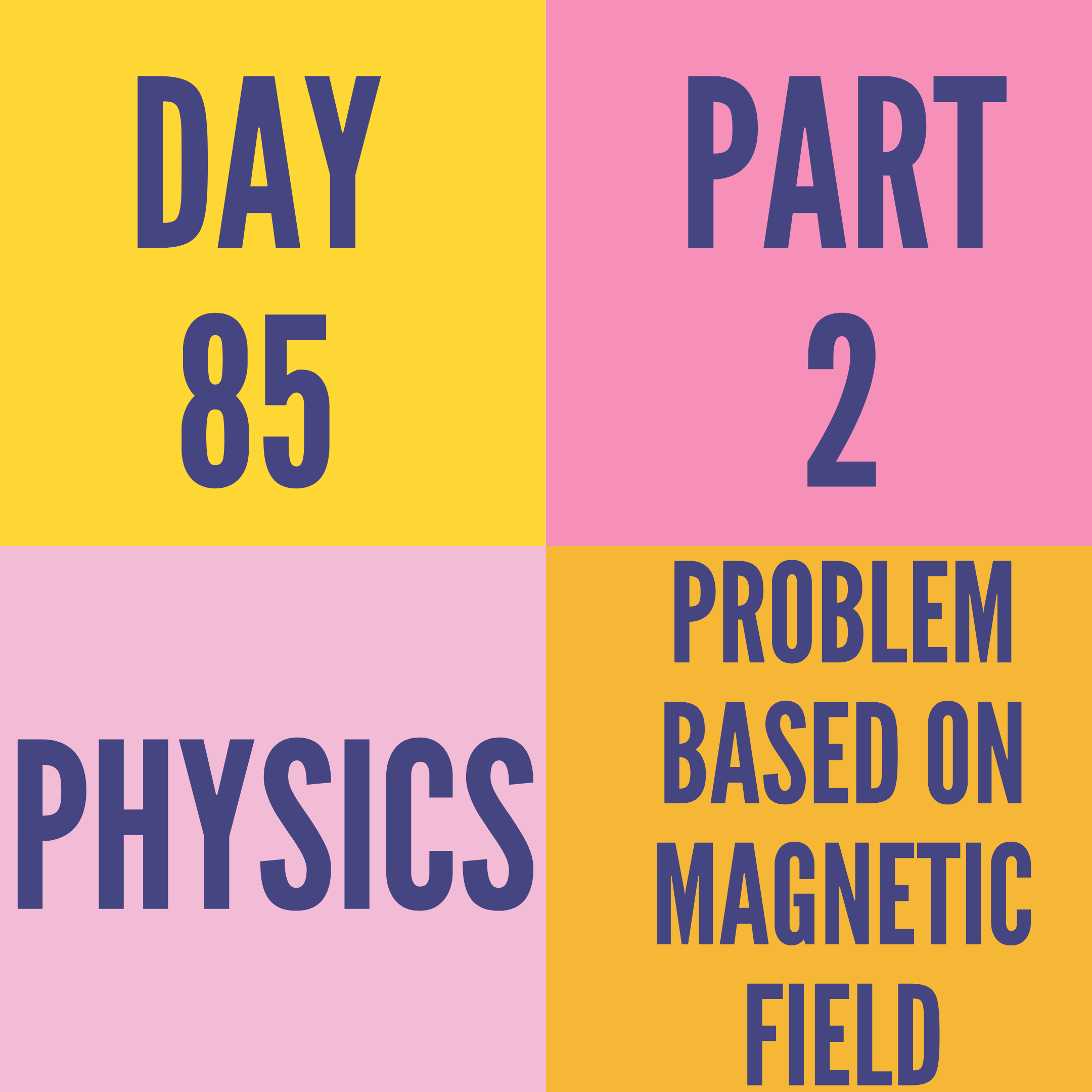 DAY-85 PART-2 PROBLEM BASED ON MAGNETIC FIELD