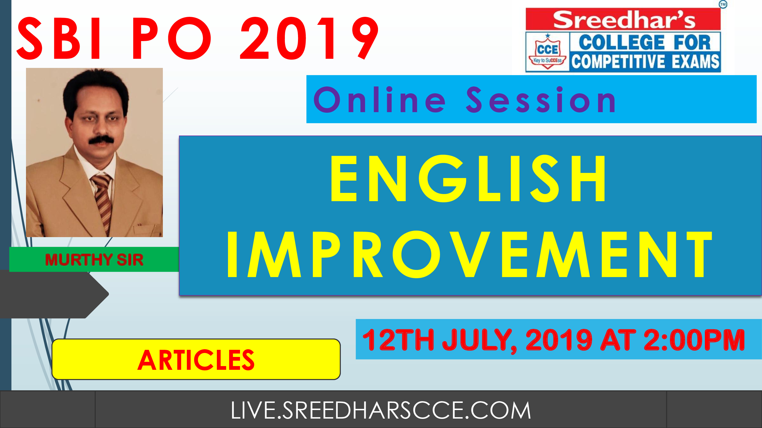 Class Session 26 English Improvement | By Murthy Sir (Articles)