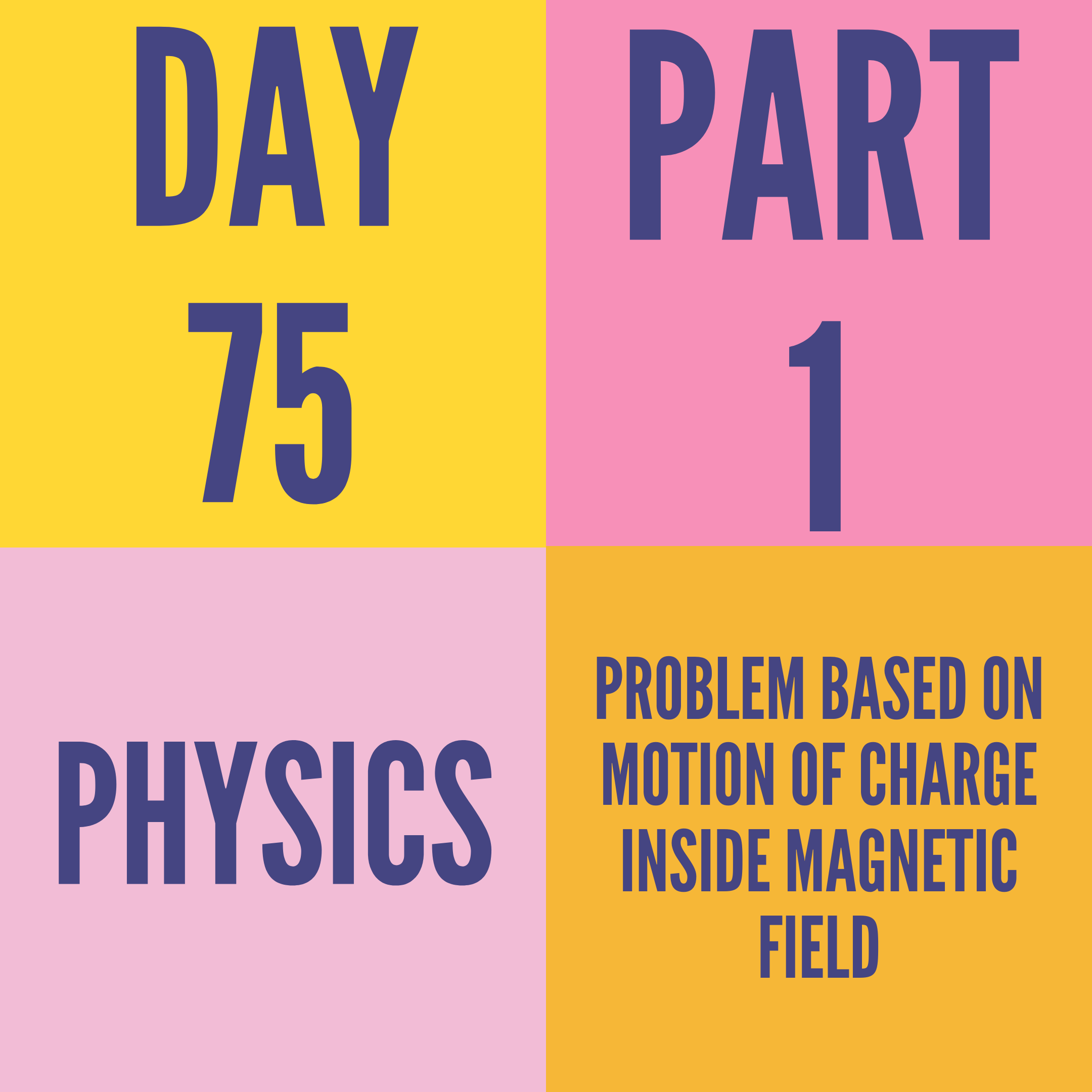 DAY-75 PART-1 PROBLEM BASED ON MOTION OF CHARGE INSIDE MAGNETIC FIELD