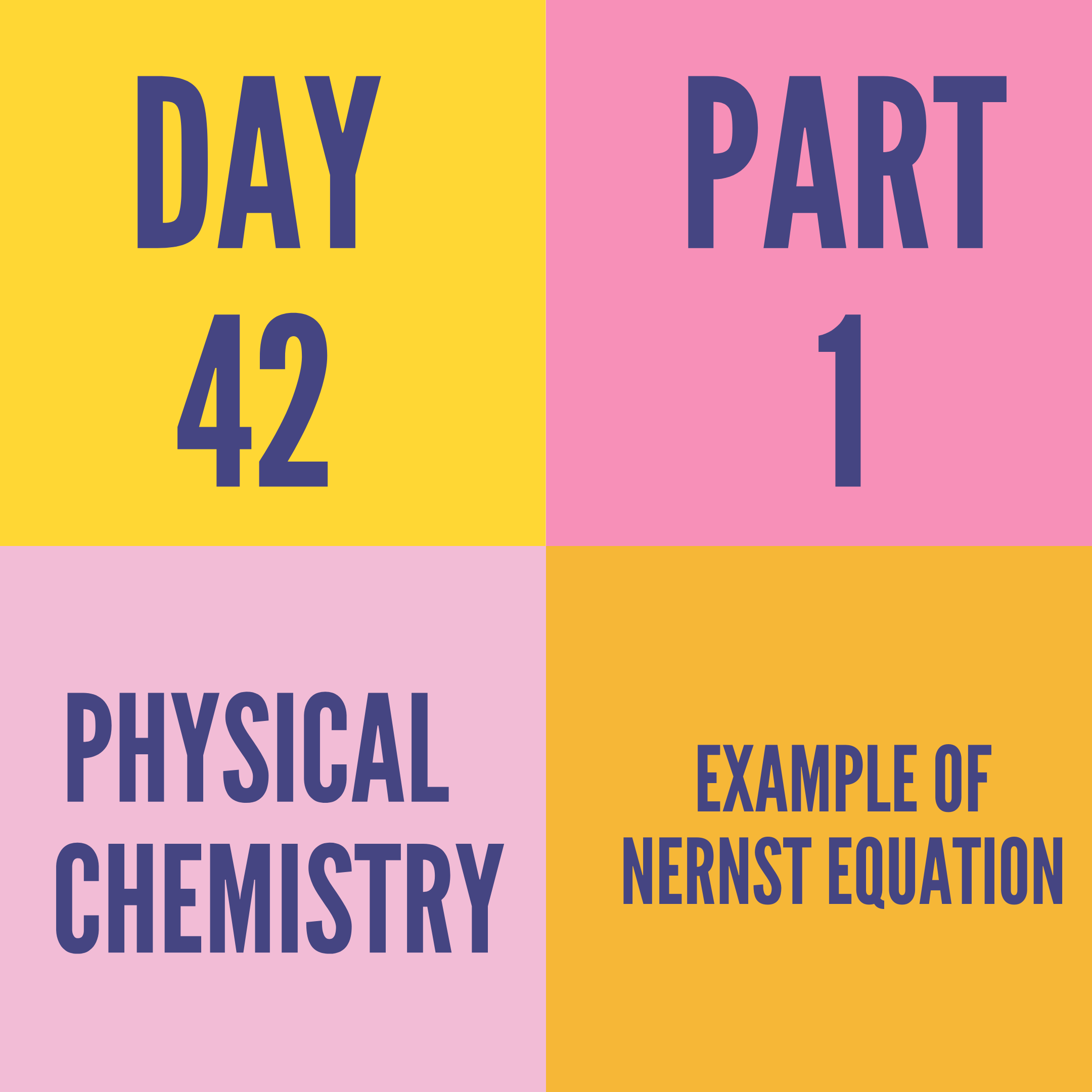 DAY-42 PART-1 EXAMPLE OF NERNST EQUATION