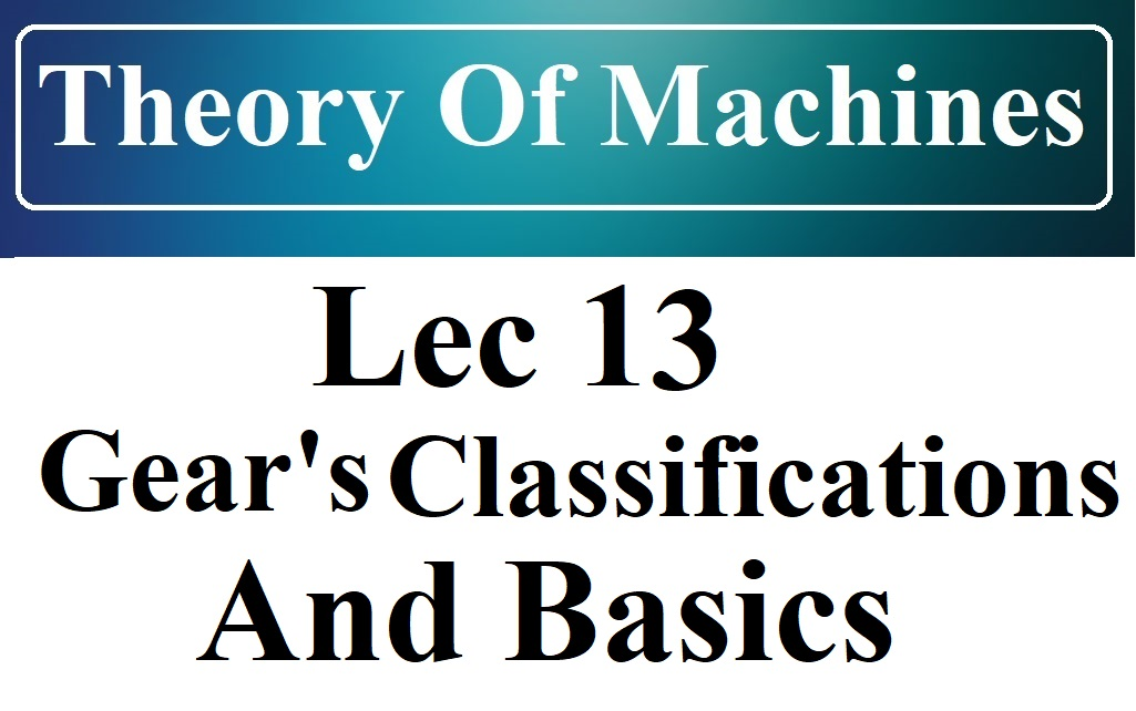 Lec 13 Gear Intro And Classifications