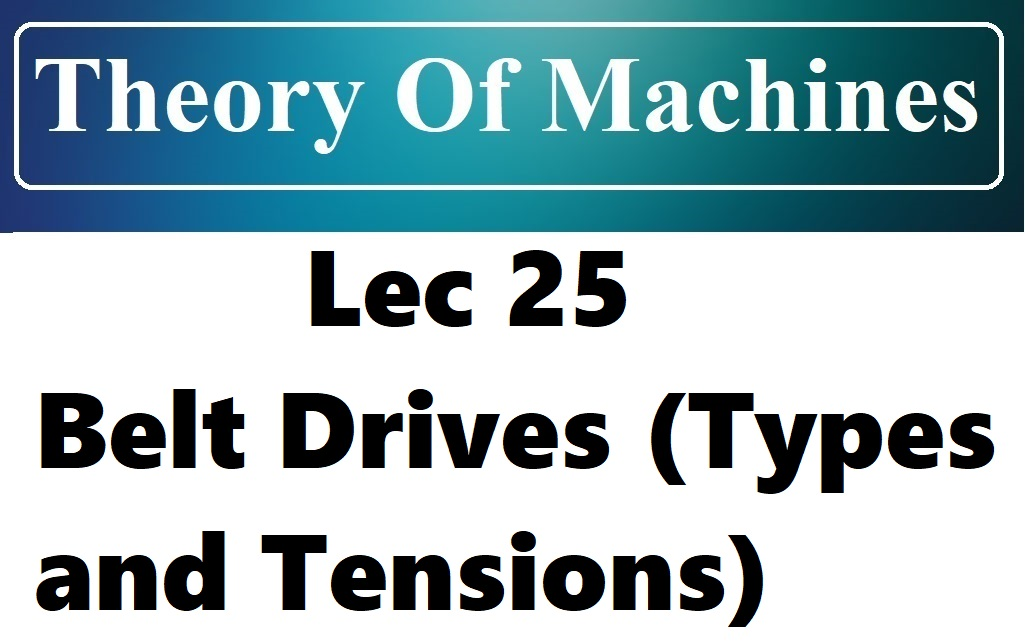 Lec 25 Belt Drives (Types and Tensions)