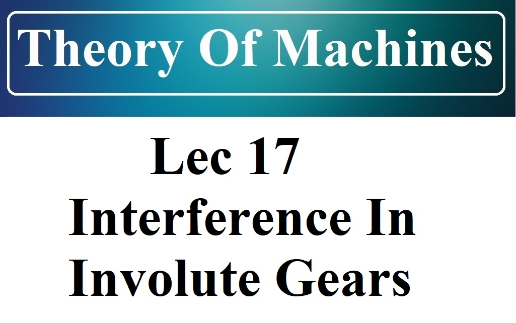 Lec 17 Interference In Involute Gears