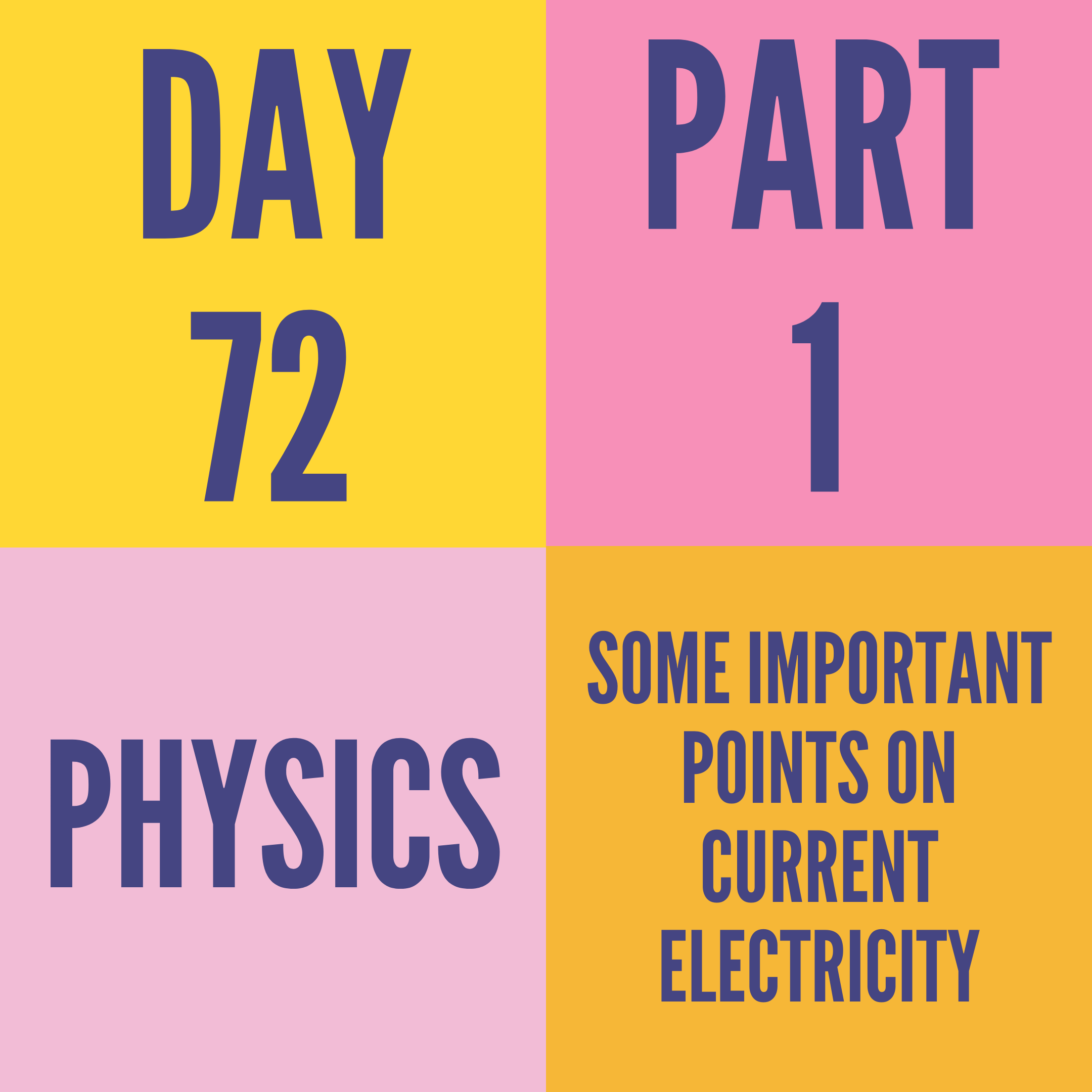 DAY-72 PART-1  SOME IMPORTANT POINTS ON CURRENT ELECTRICITY