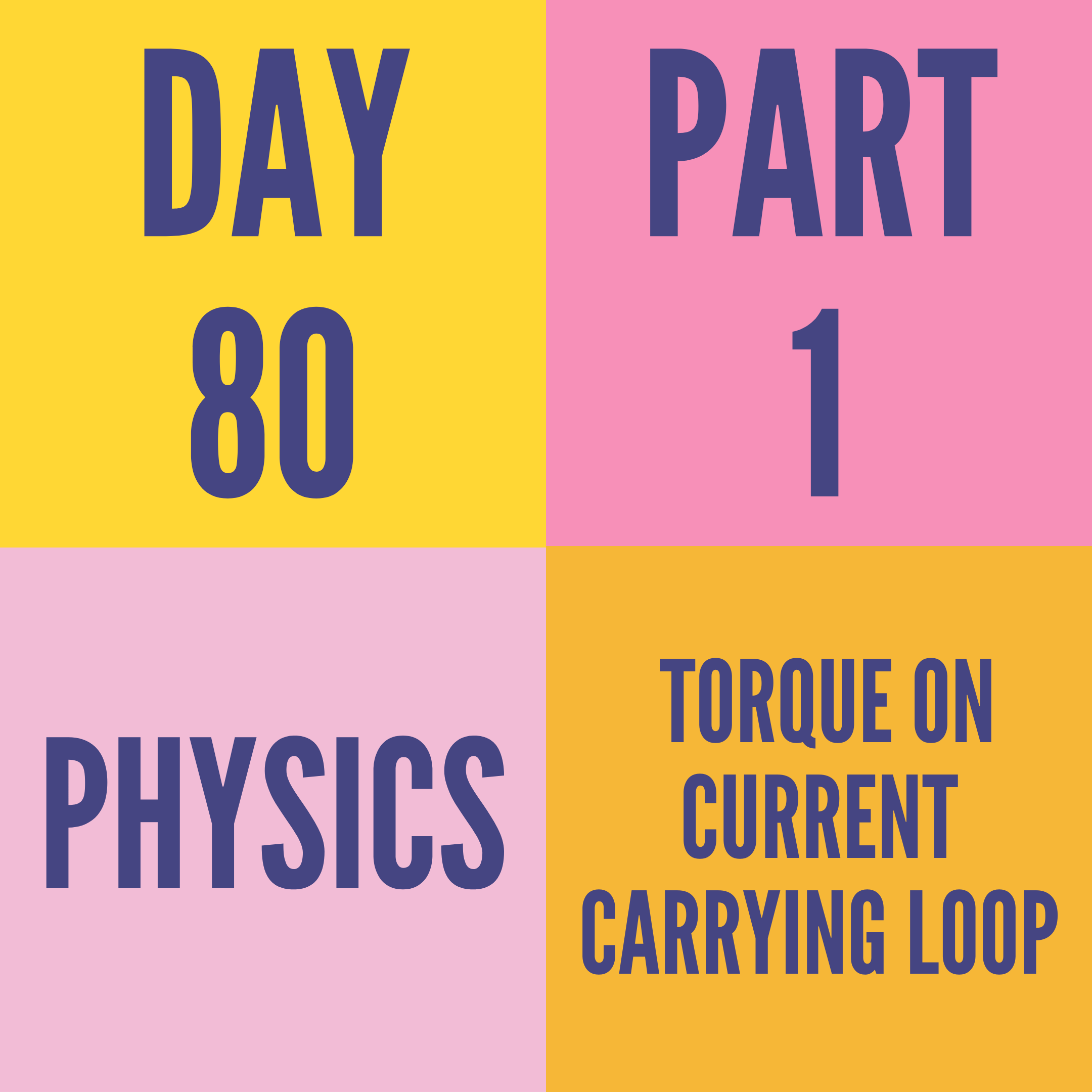DAY-80 PART-1 TORQUE ON CURRENT CARRYING LOOP
