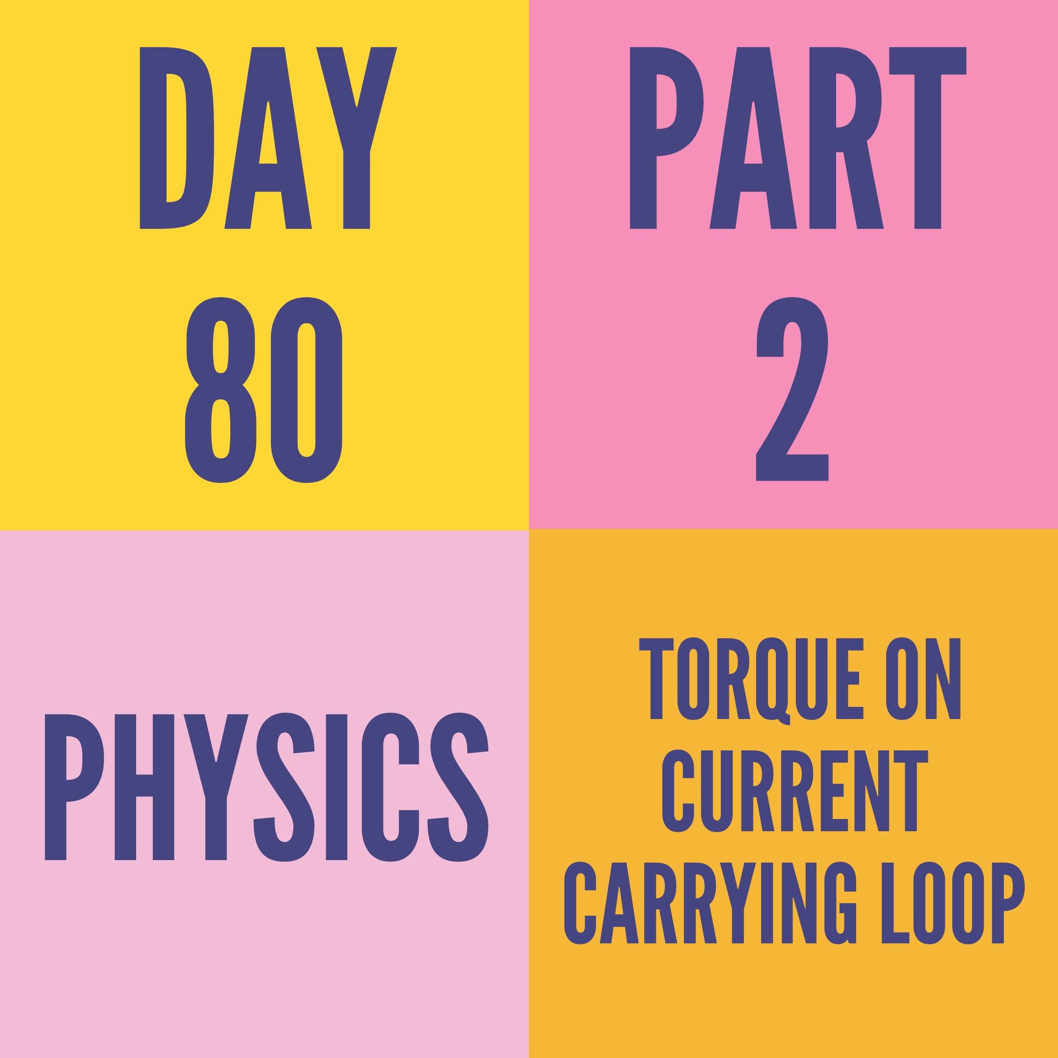 DAY-80 PART-2 TORQUE ON CURRENT CARRYING LOOP