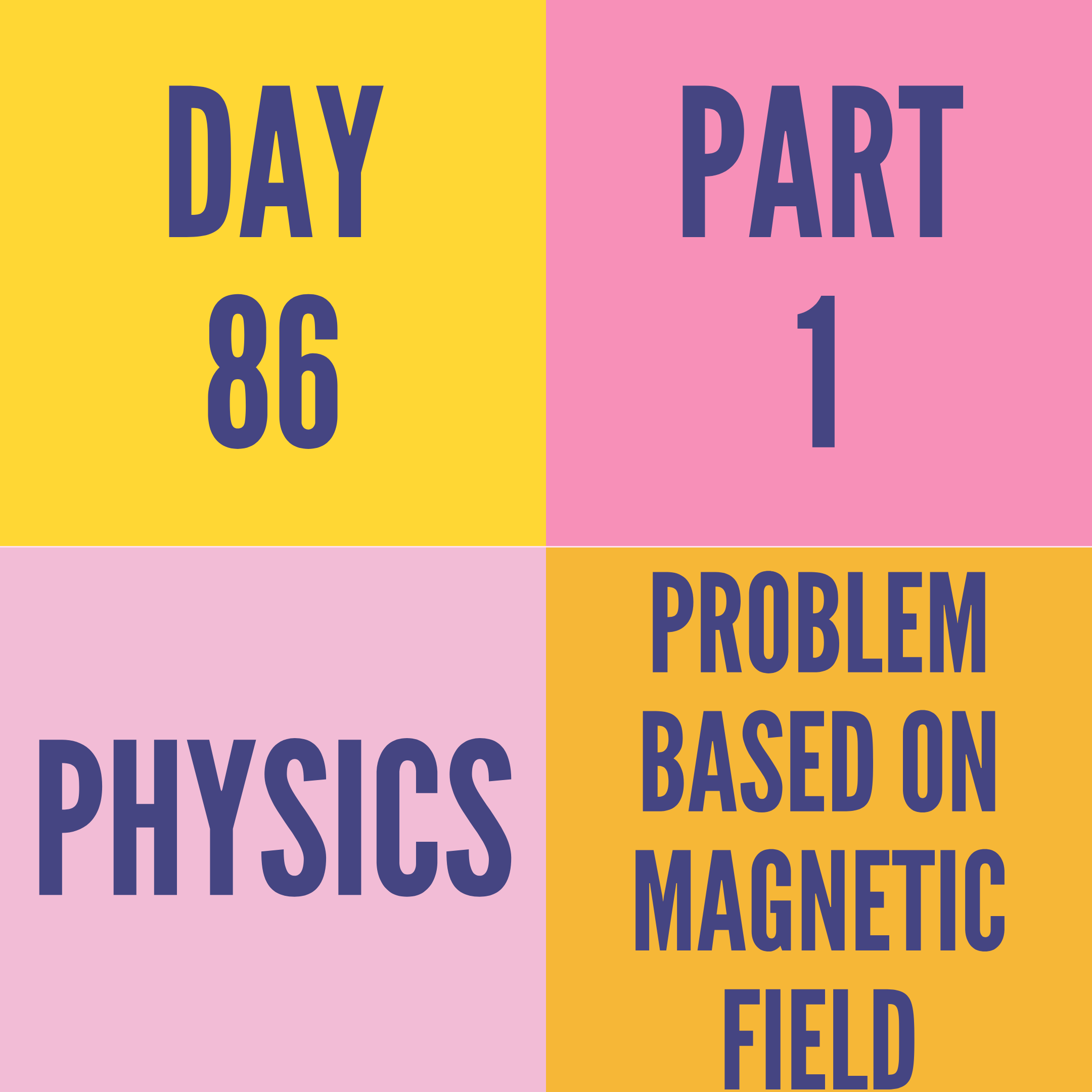 DAY-86 PART-1 PROBLEM BASED ON MAGNETIC FIELD