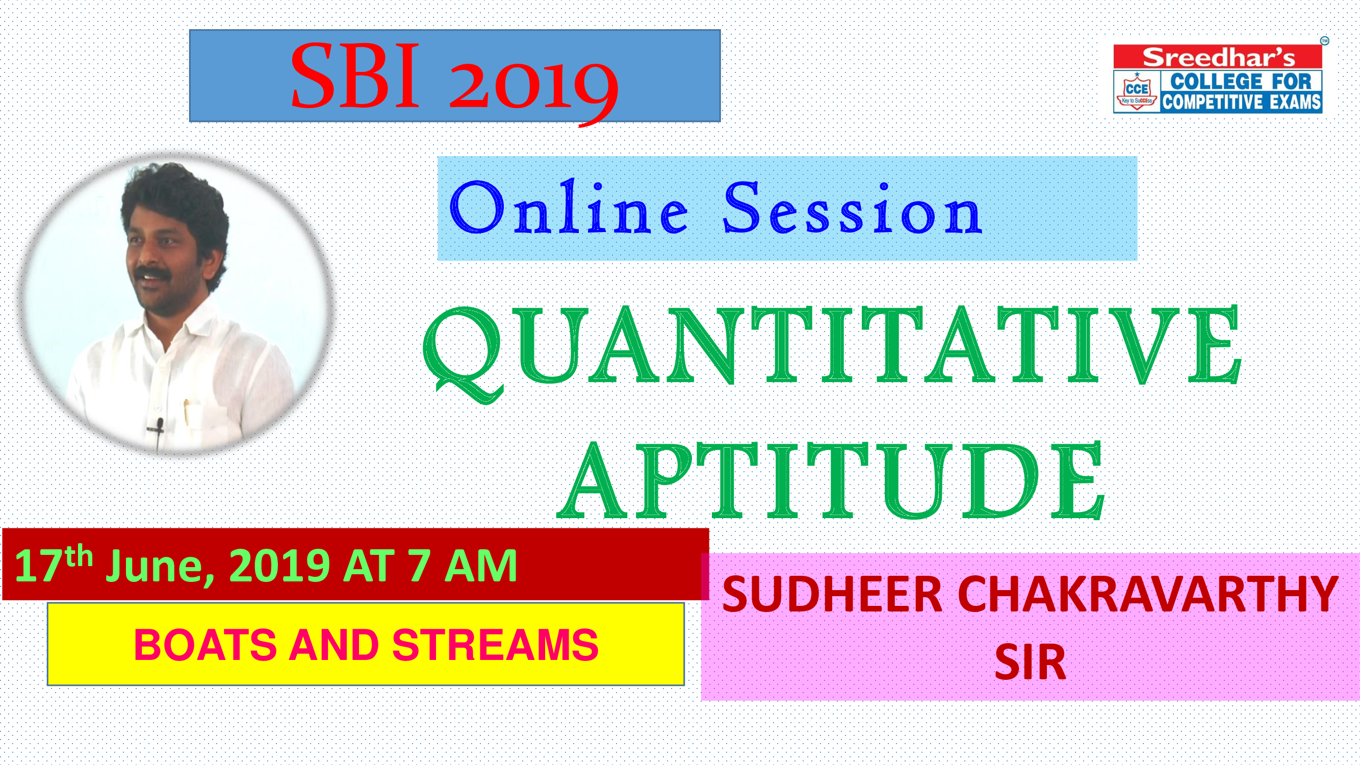 Class Session 17 Quantative Aptitude | By Sudheer Chakravarthy Sir (Boats And Streams)