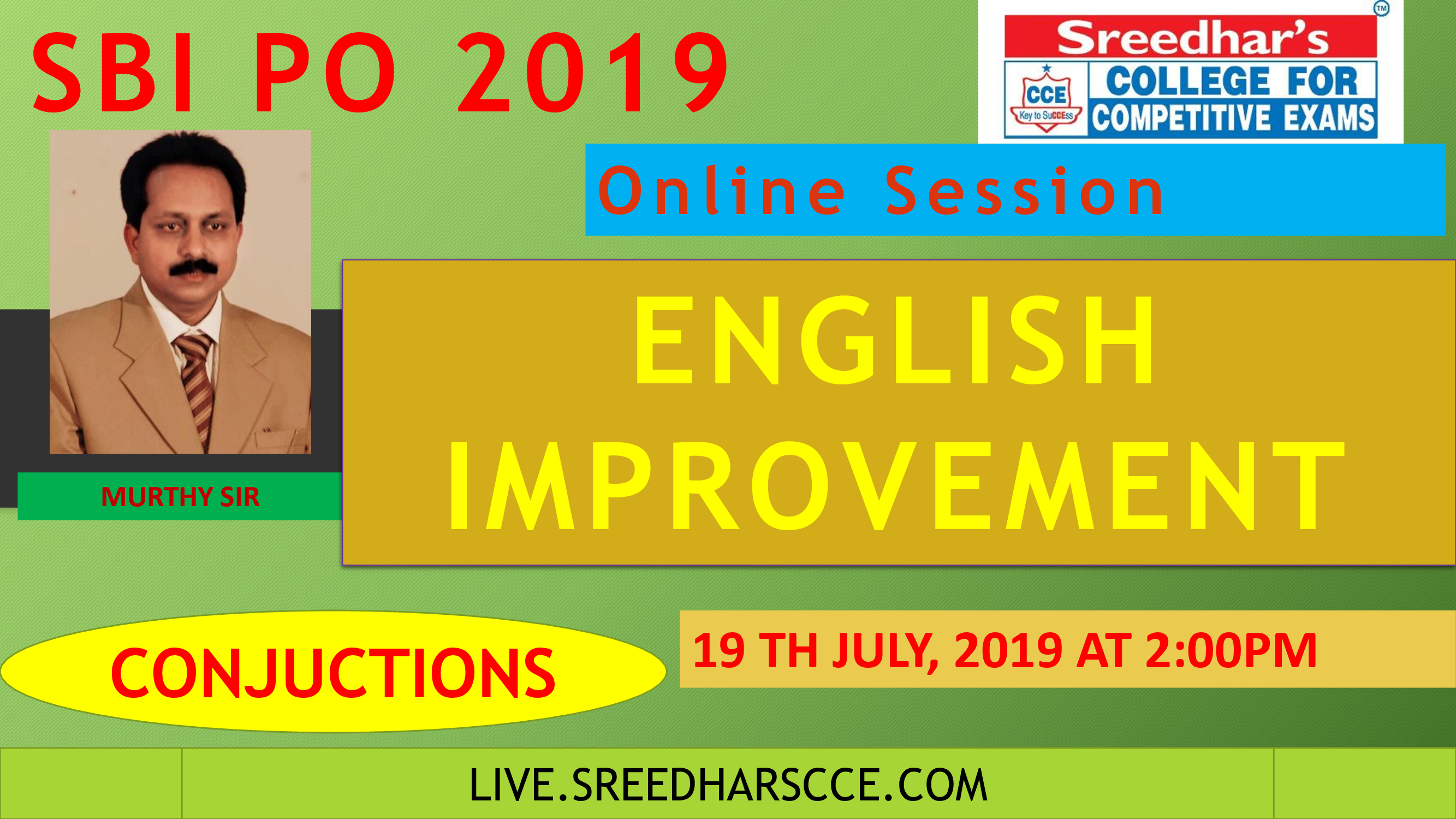 Class Session 28 English Improvement | By Murthy Sir ( Conjuction)
