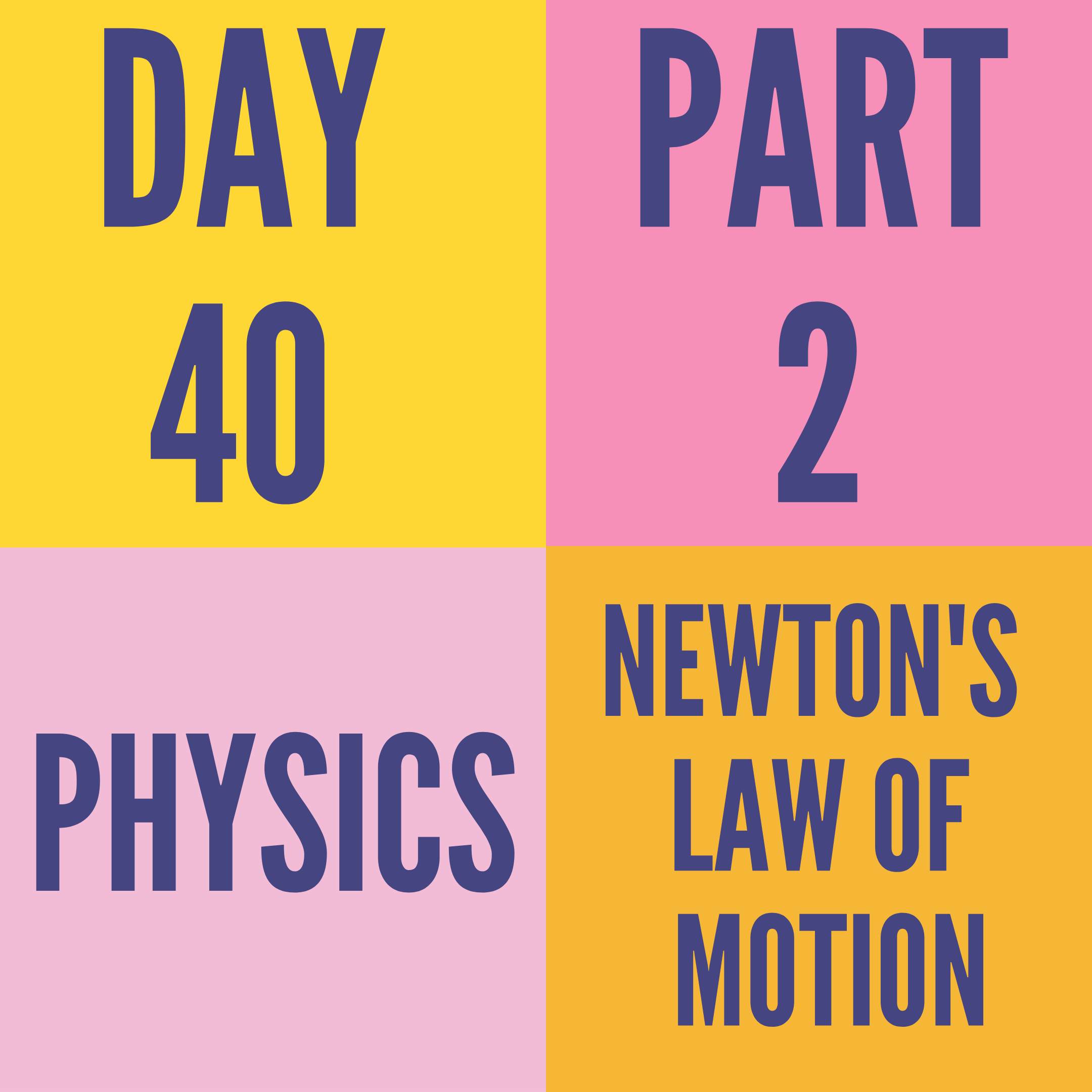 DAY-40 PART-2 NEWTON'S LAW OF MOTION