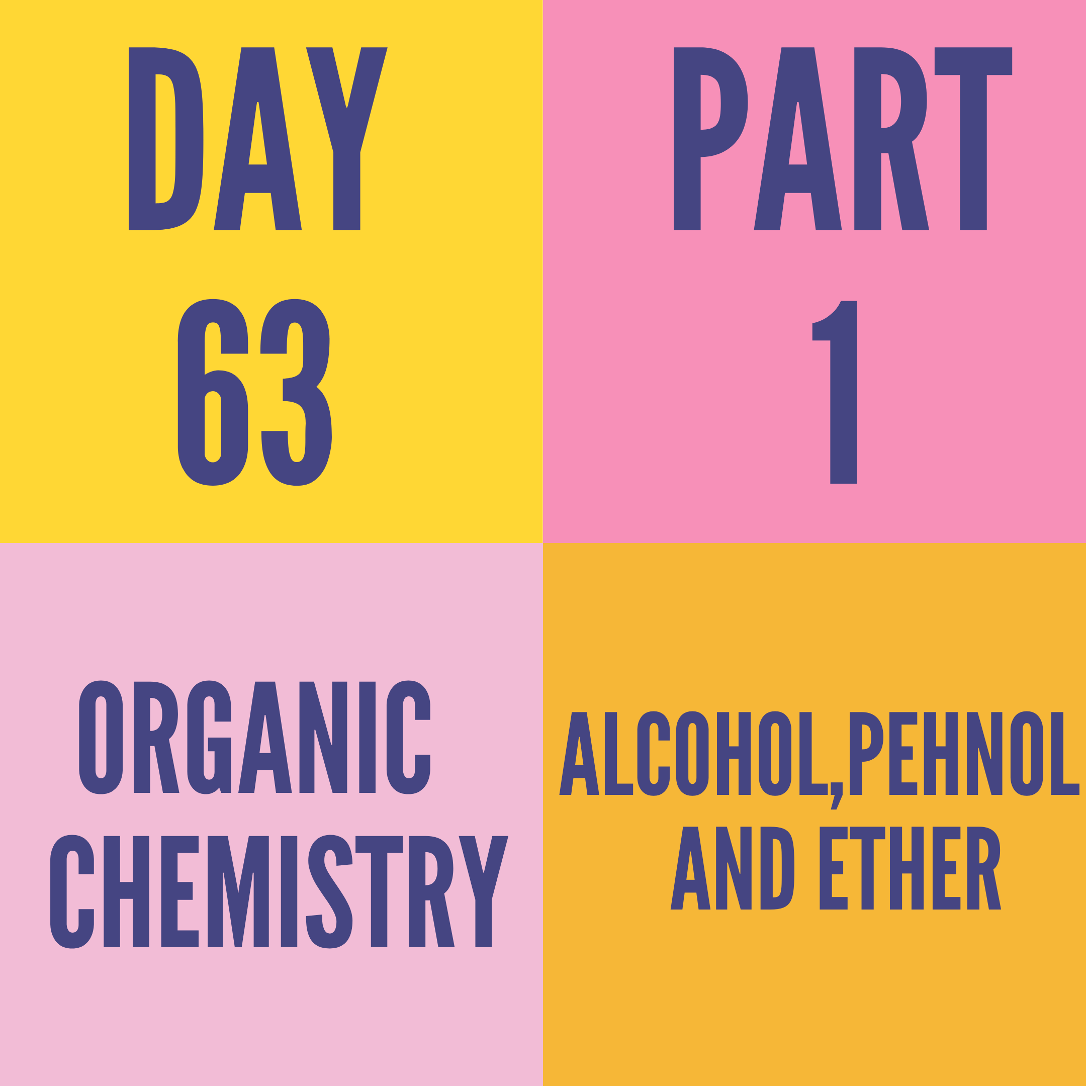 DAY-63 PART-1 ALCOH0L,PEHNOL AND ETHER