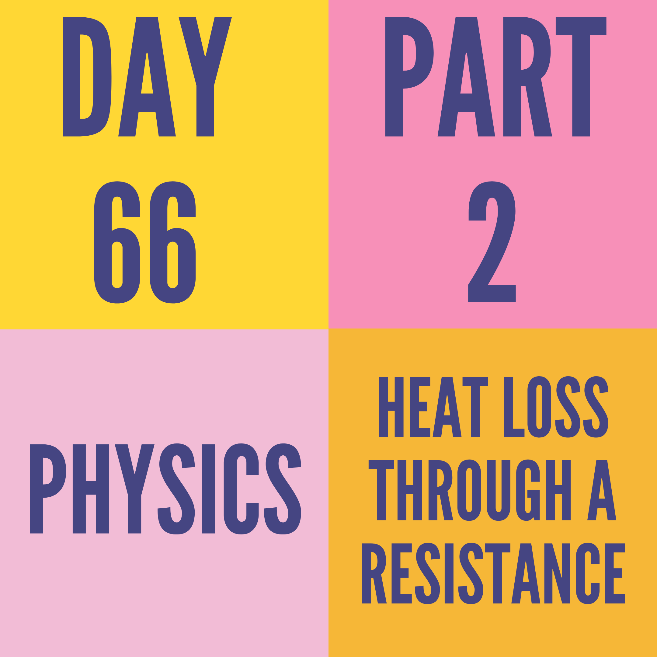 DAY-66 PART-2  HEAT LOSS THROUGH A RESISTANCE