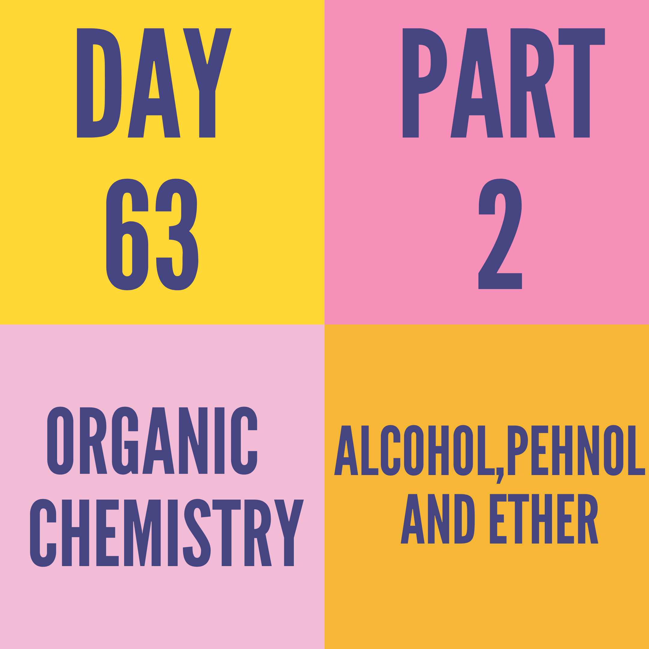DAY-63 PART-2 ALCOH0L,PEHNOL AND ETHER