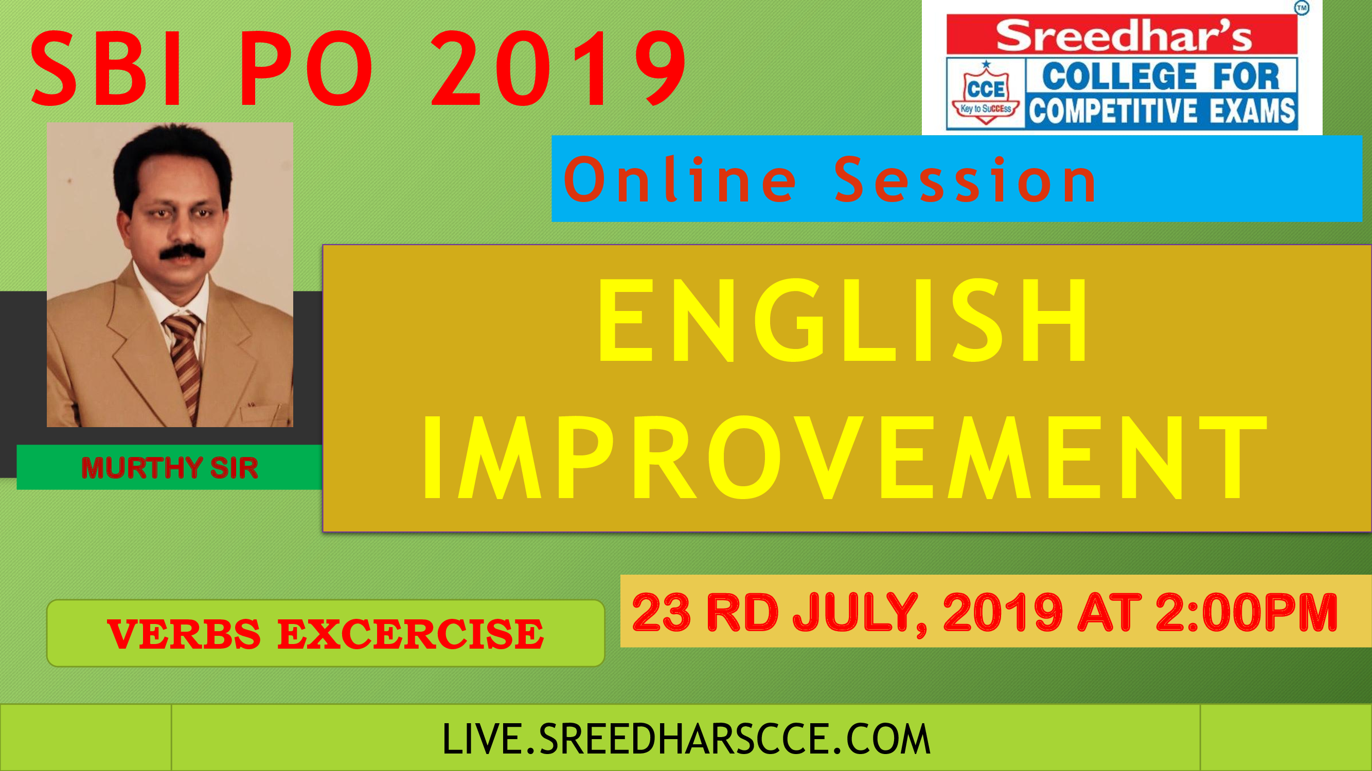 Class Session 31 English Improvement | By Murthy Sir ( Verbs )