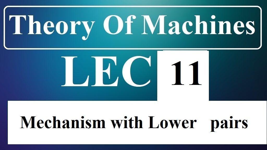Lec 11 Mechanism with Lower pairs