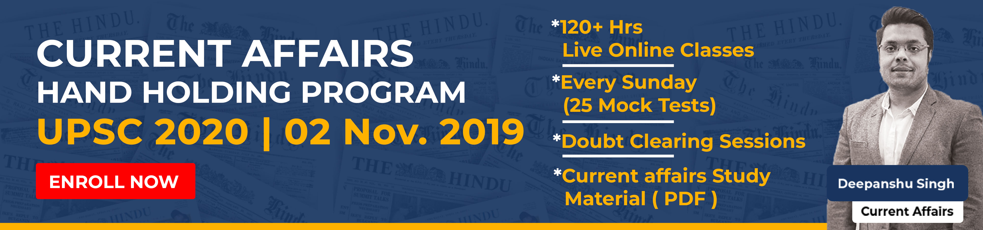Current Affairs Hand Holding Program For UPSC 2020 banner