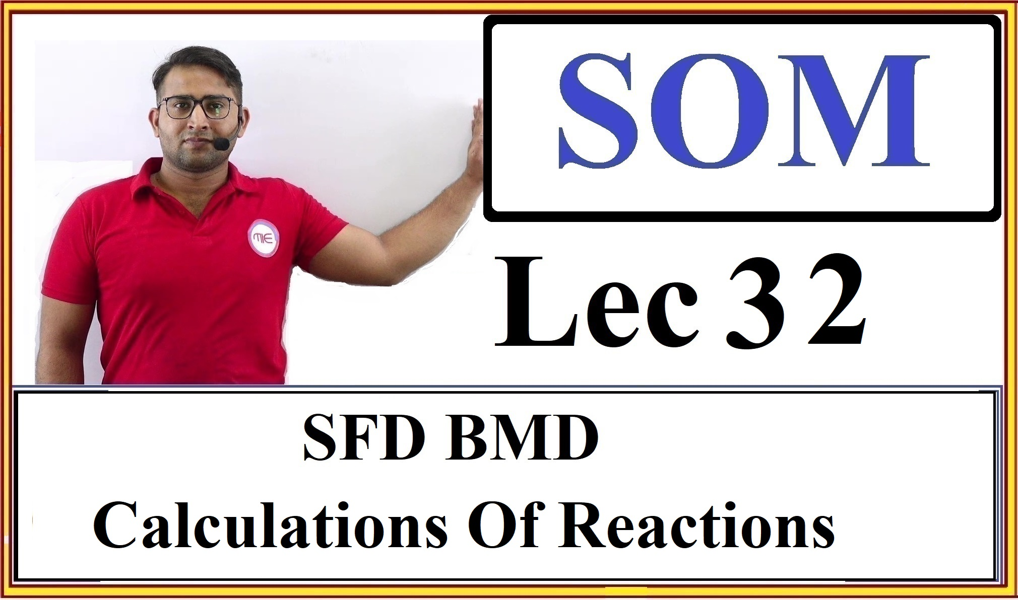 Lec 32 SFD BMD (Calculation Of Reactions)