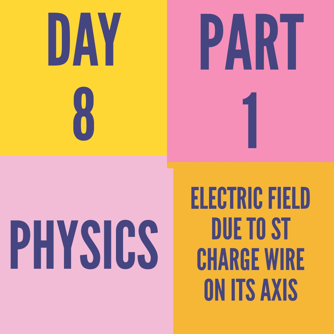 DAY-8-PART-1-ELECTRIC FIELD DUE TO St. CHARGE WIRE ON ITS AXIS