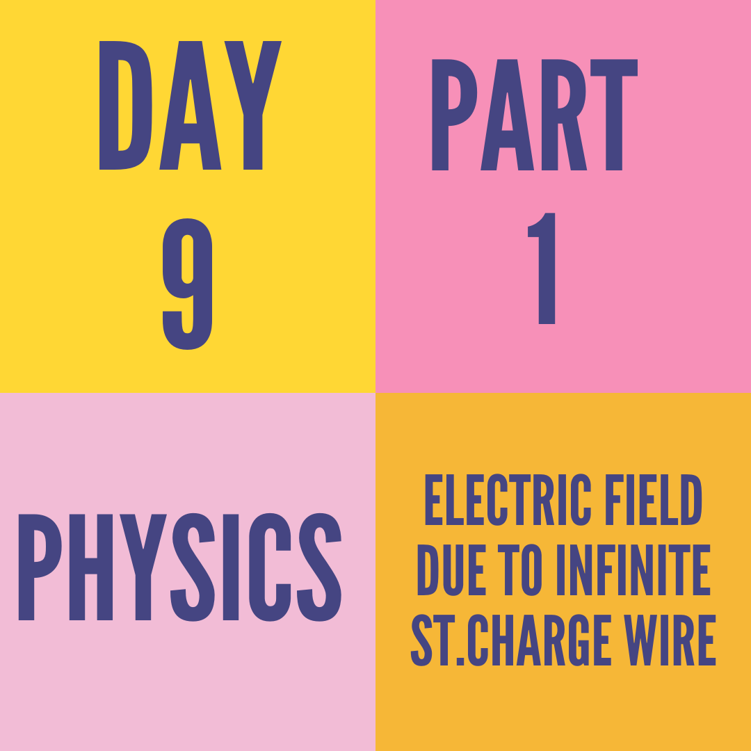 DAY-9- ELECTRIC FIELD DUE TO INFINITE ST CHARGE WIRE