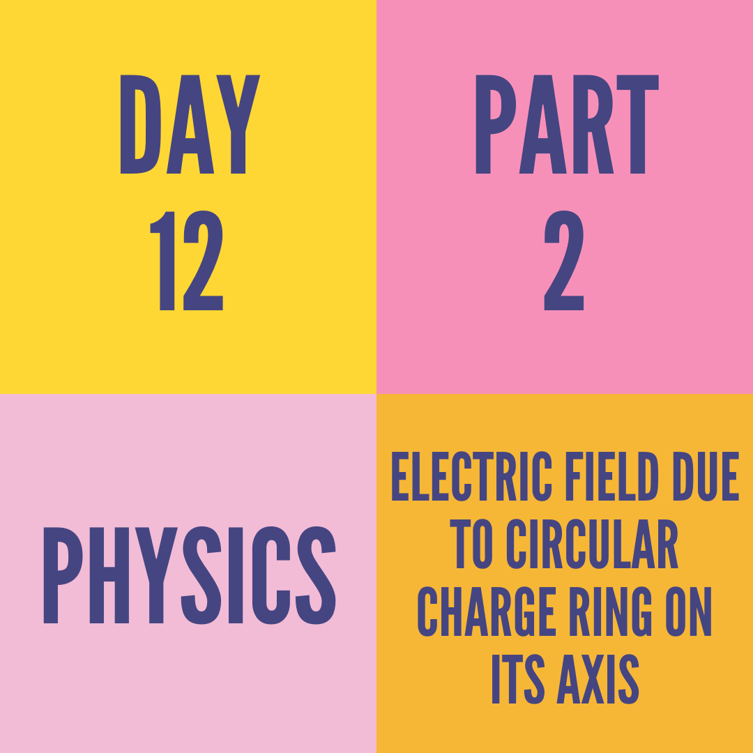 DAY-12 PART-2 ELECTRIC FIELD DUE TO CIRCULAR CHARGE RING ON ITS AXIS