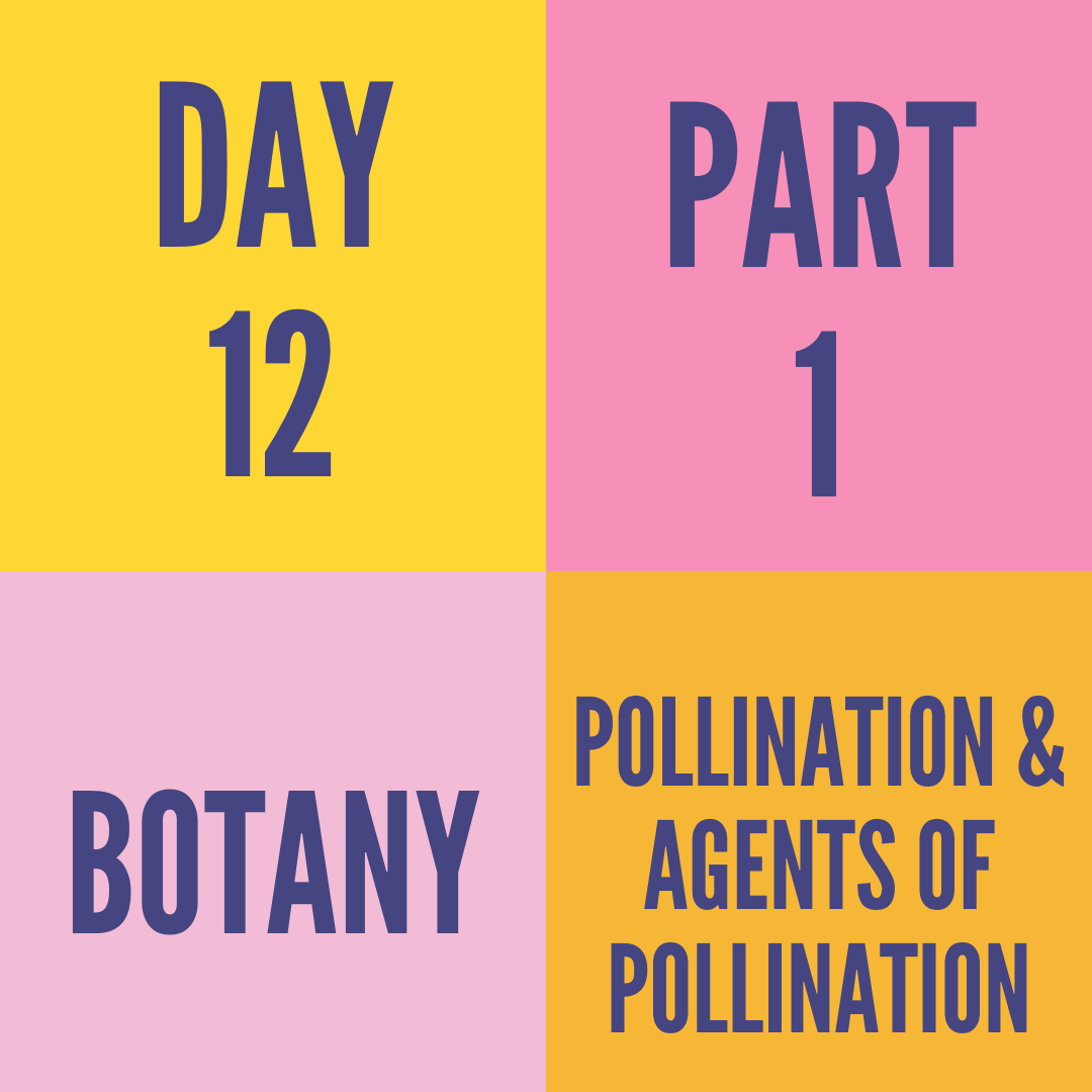 DAY-12 PART-1 POLLINATION & AGENTS OF POLLINATION