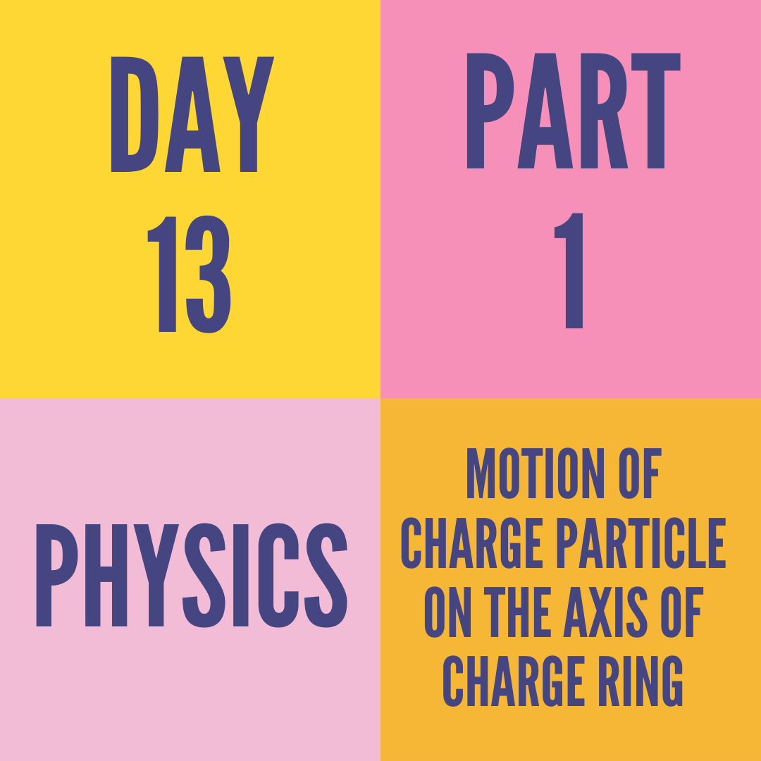 DAY-13 PART-1 MOTION OF CHARGE PARTICLE ON THE AXIS OF CHARGE RING