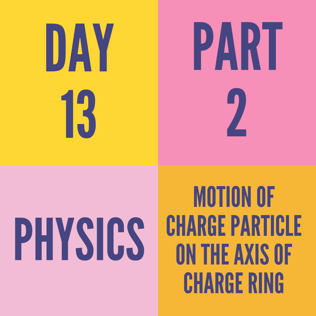DAY-13 PART-2 MOTION OF CHARGE PARTICLE ON THE AXIS OF CHARGE RING