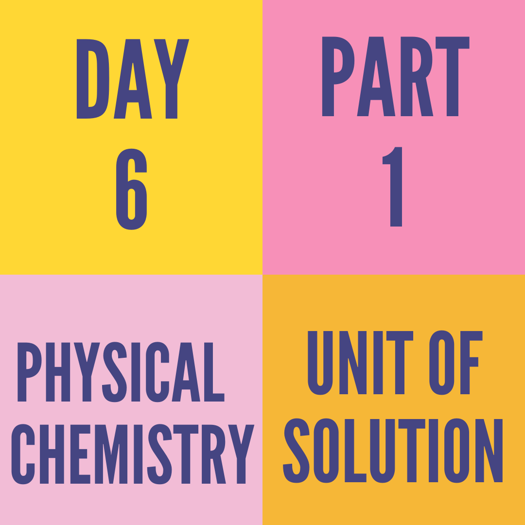 DAY-6 PART-1 UNIT OF SOLUTION