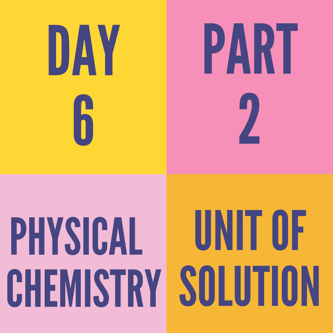DAY-6 PART-2 UNIT OF SOLUTION