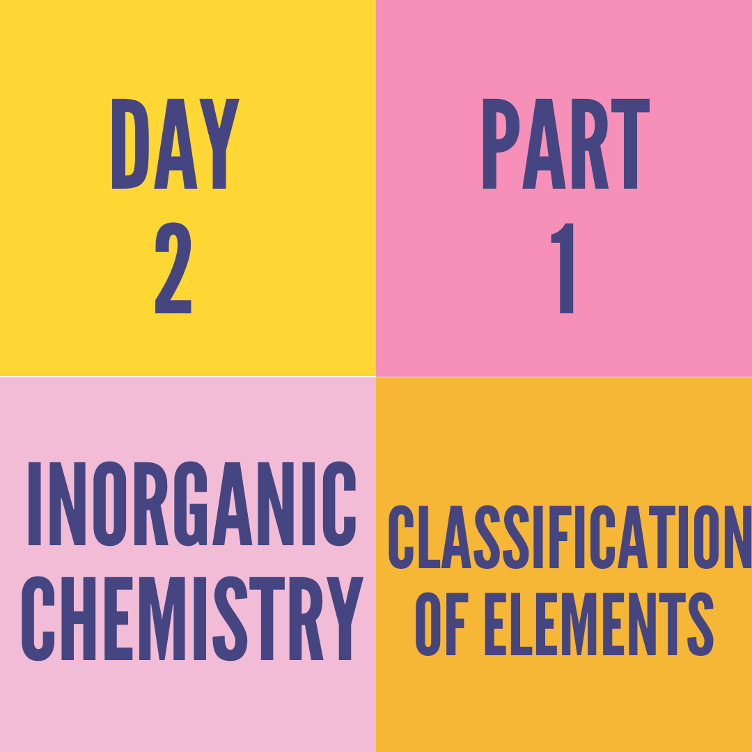 DAY-2 PART-1 CLASSIFICATION OF ELEMENTS
