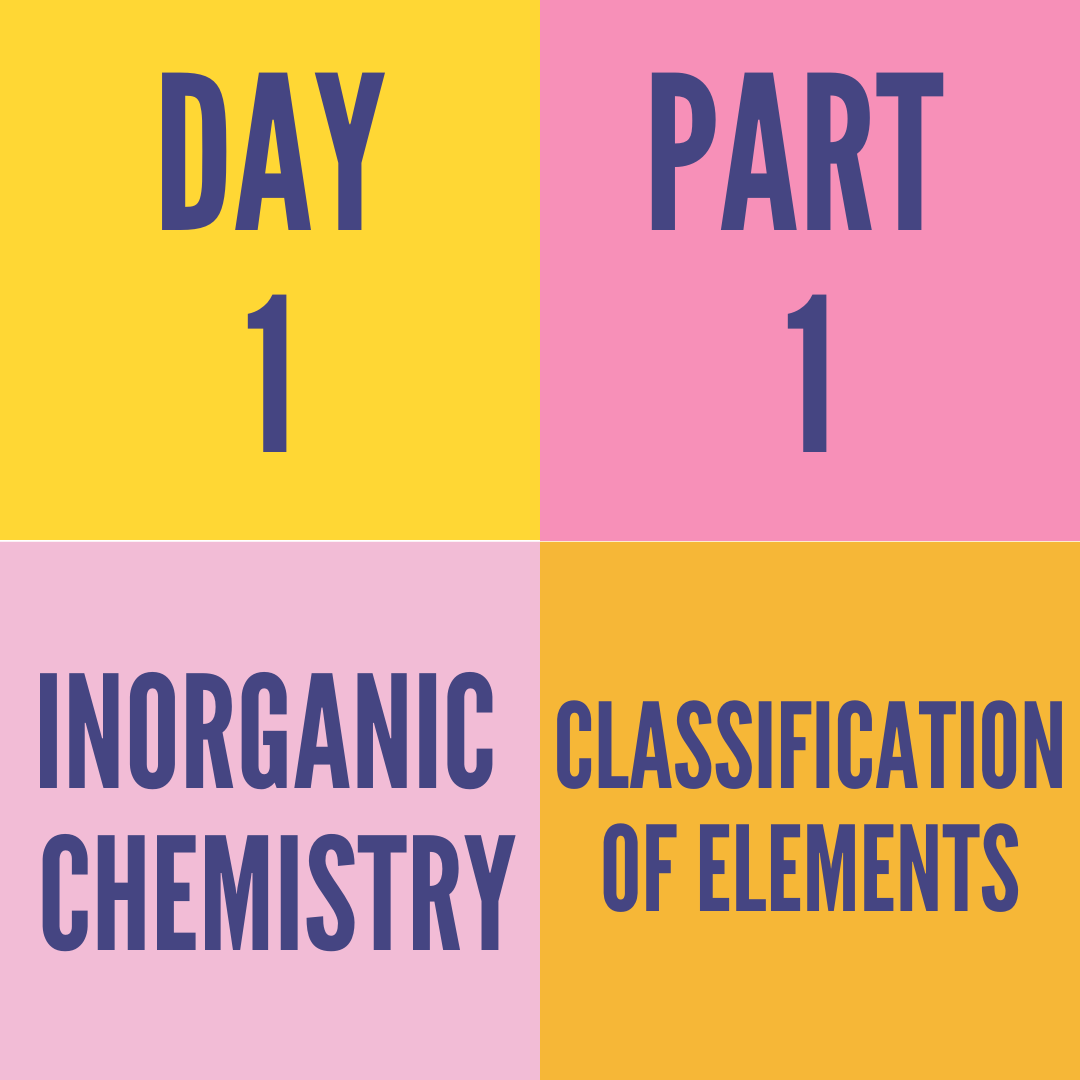 DAY-1 PART-1 CLASSIFICATION OF ELEMENTS