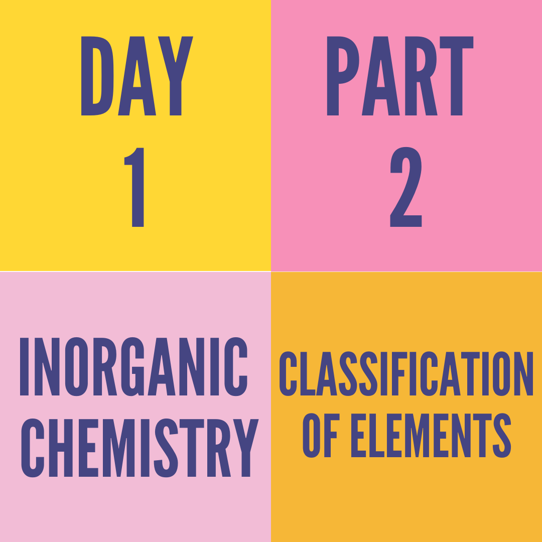 DAY-1 PART-2 CLASSIFICATION OF ELEMENTS