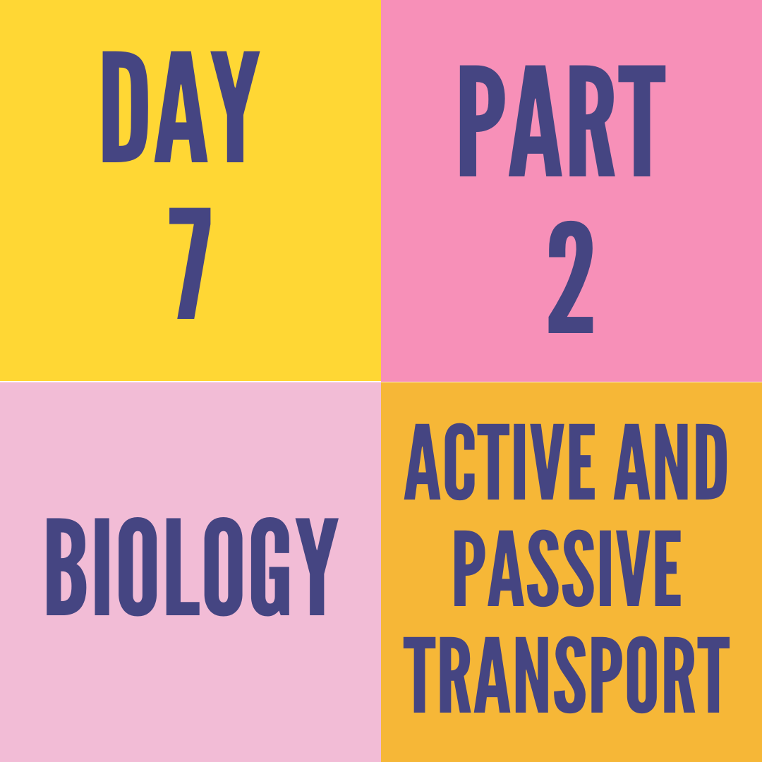 DAY-7 PART-2 ACTIVE AND PASSIVE TRANSPORT
