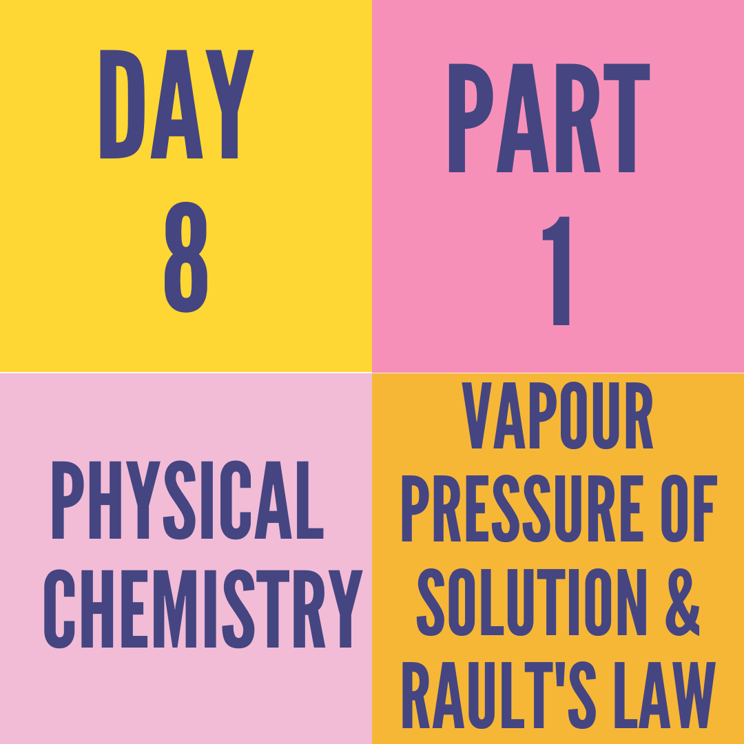 DAY-8 PART-1 VAPOUR PRESSURE OF SOLUTION & RAULT'S LAW
