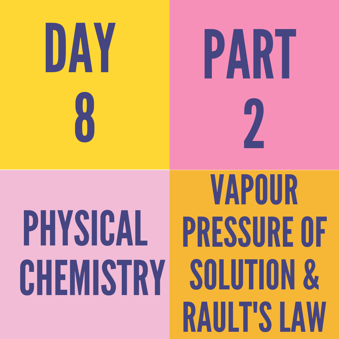 DAY-8 PART-2 VAPOUR PRESSURE OF SOLUTION & RAULT'S LAW