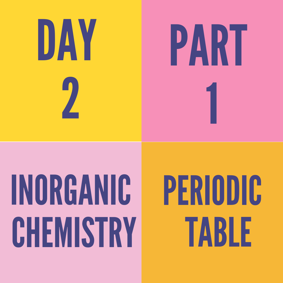 DAY-2 PART-1 PERIODIC TABLE