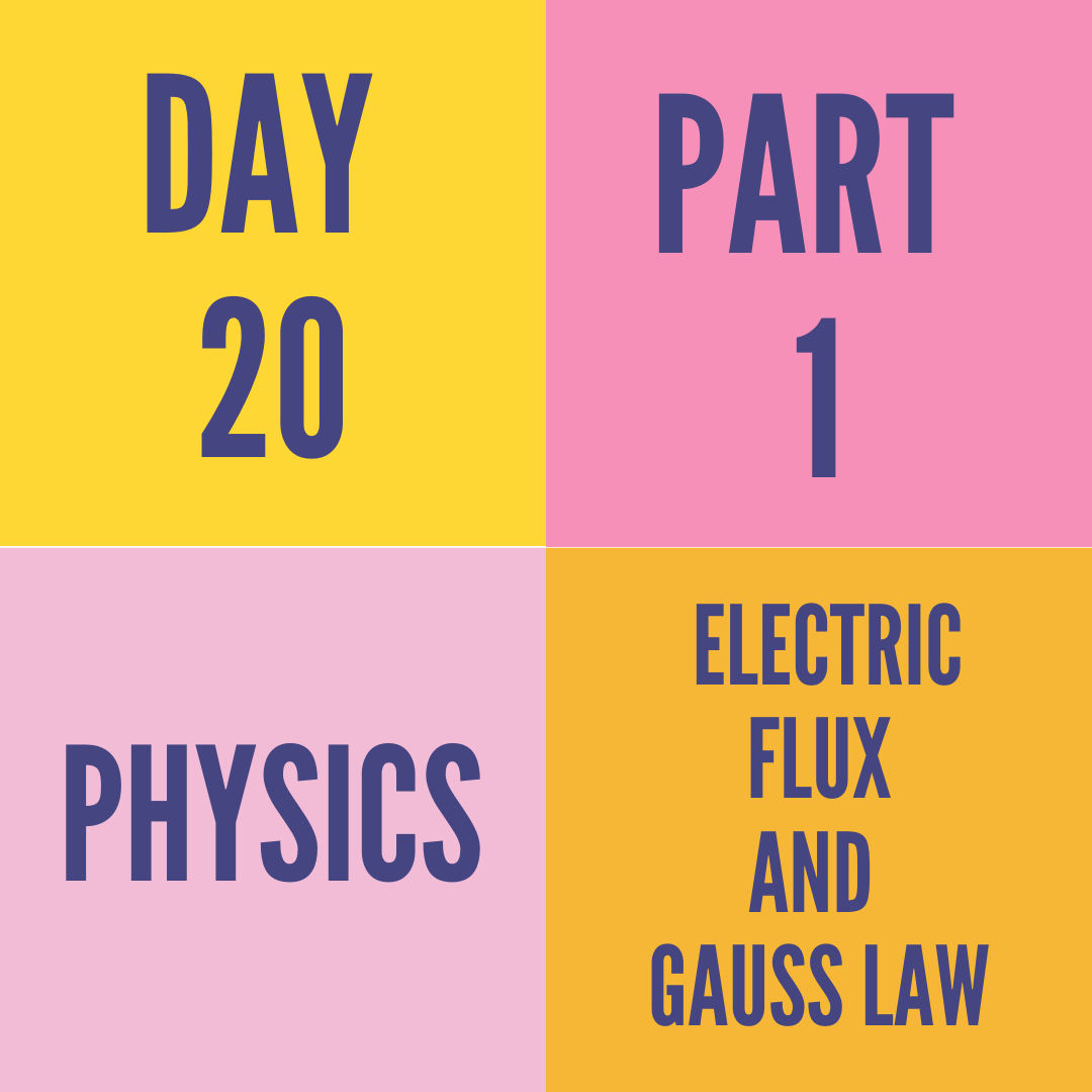 DAY-20 PART-1 ELECTRIC FLUX AND GAUSS LAW