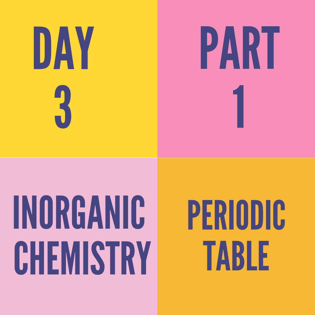 DAY-3 PART -1 PERIODIC TABLE