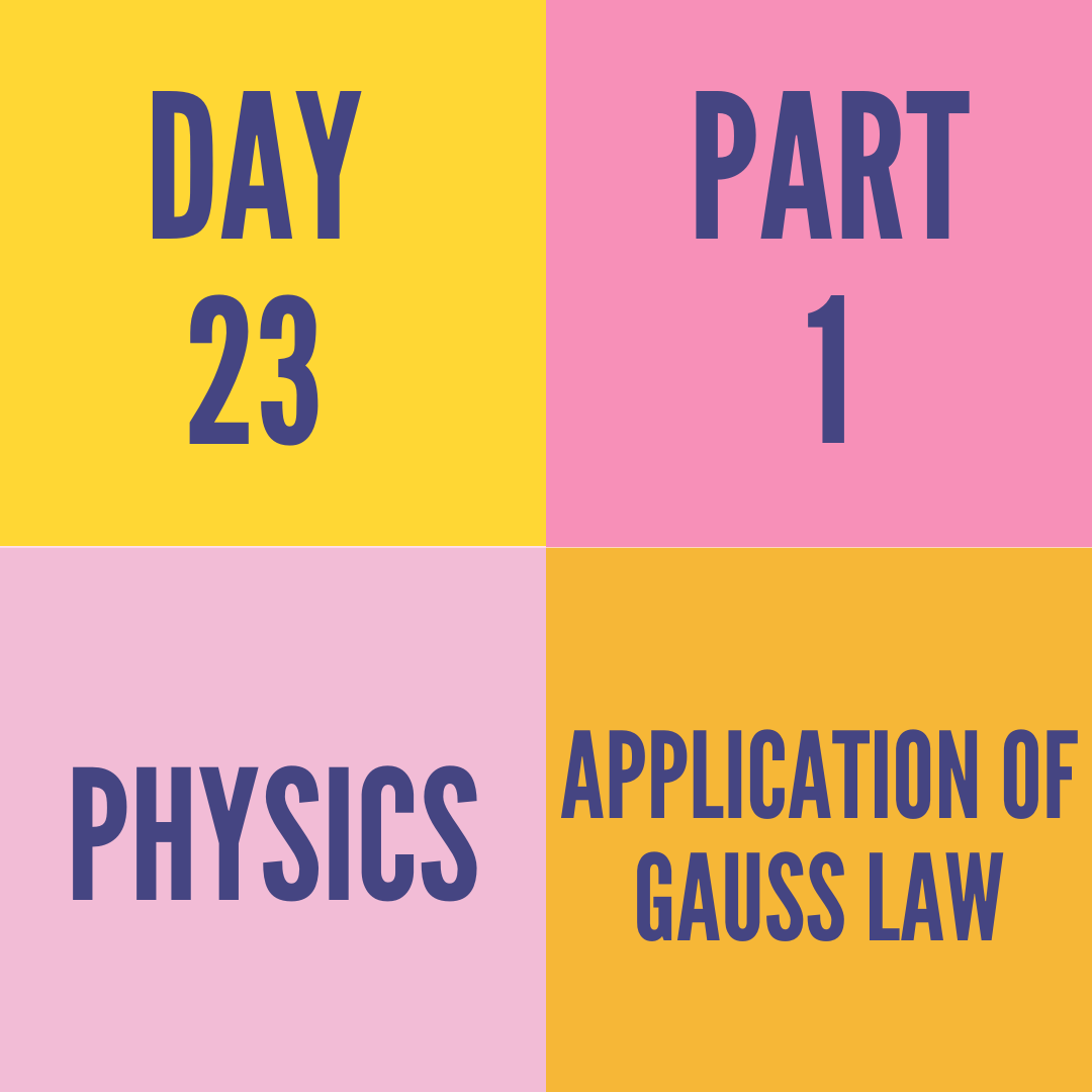 DAY-23 PART-1  APPLICATION OF GAUSS LAW