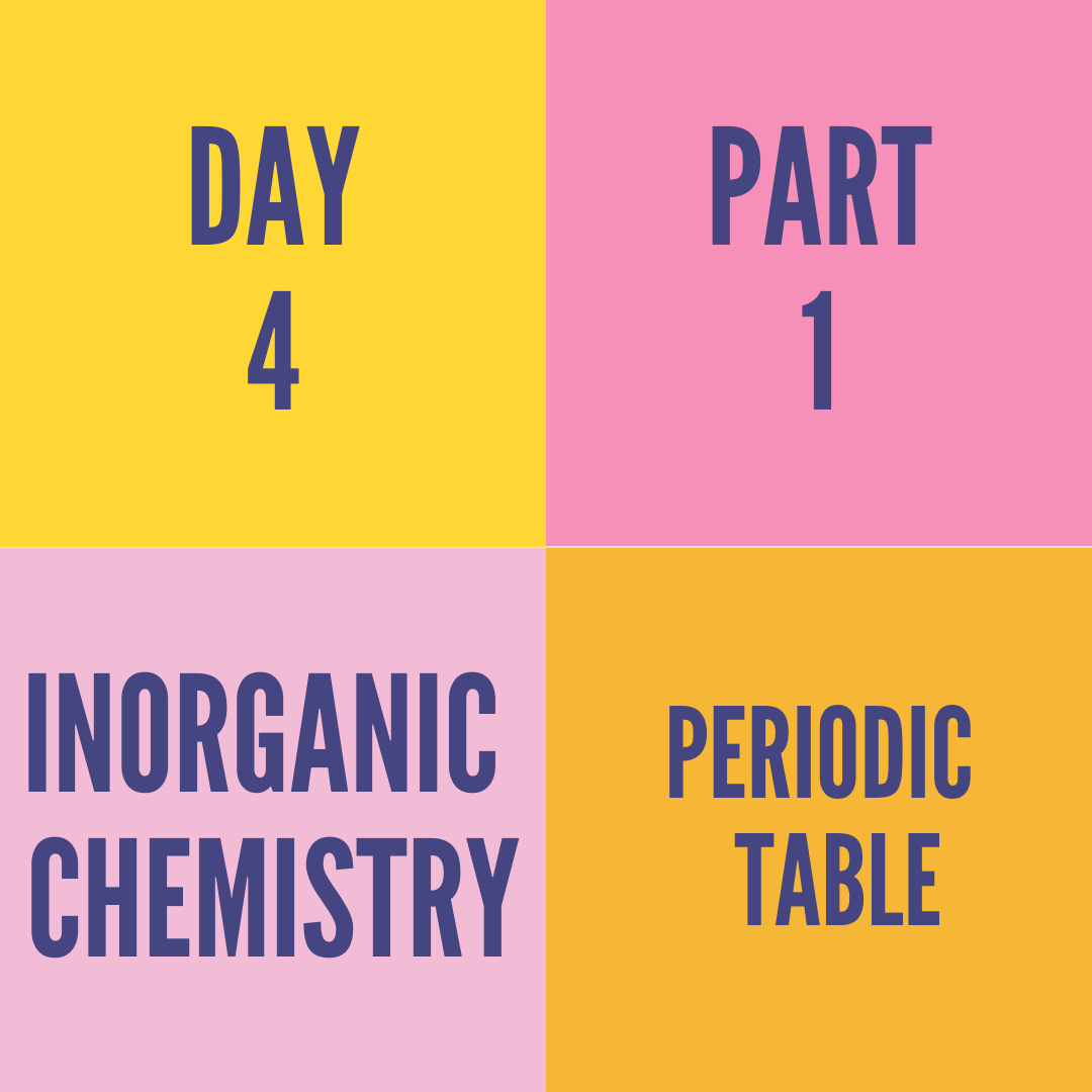 DAY-4 PART-1 PERIODIC TABLE