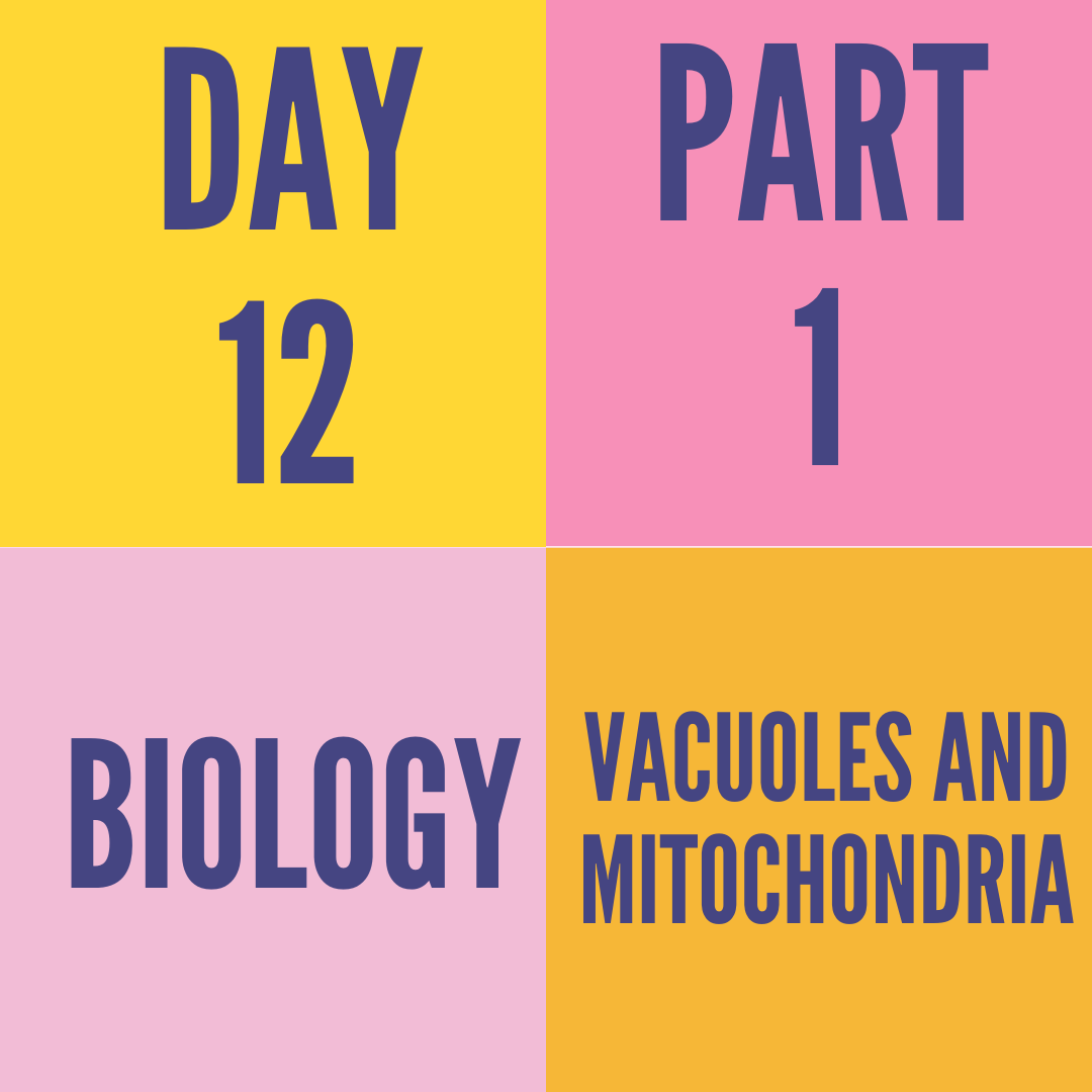 DAY-12 PART-1 VACUOLES AND MITOCHONDRIA